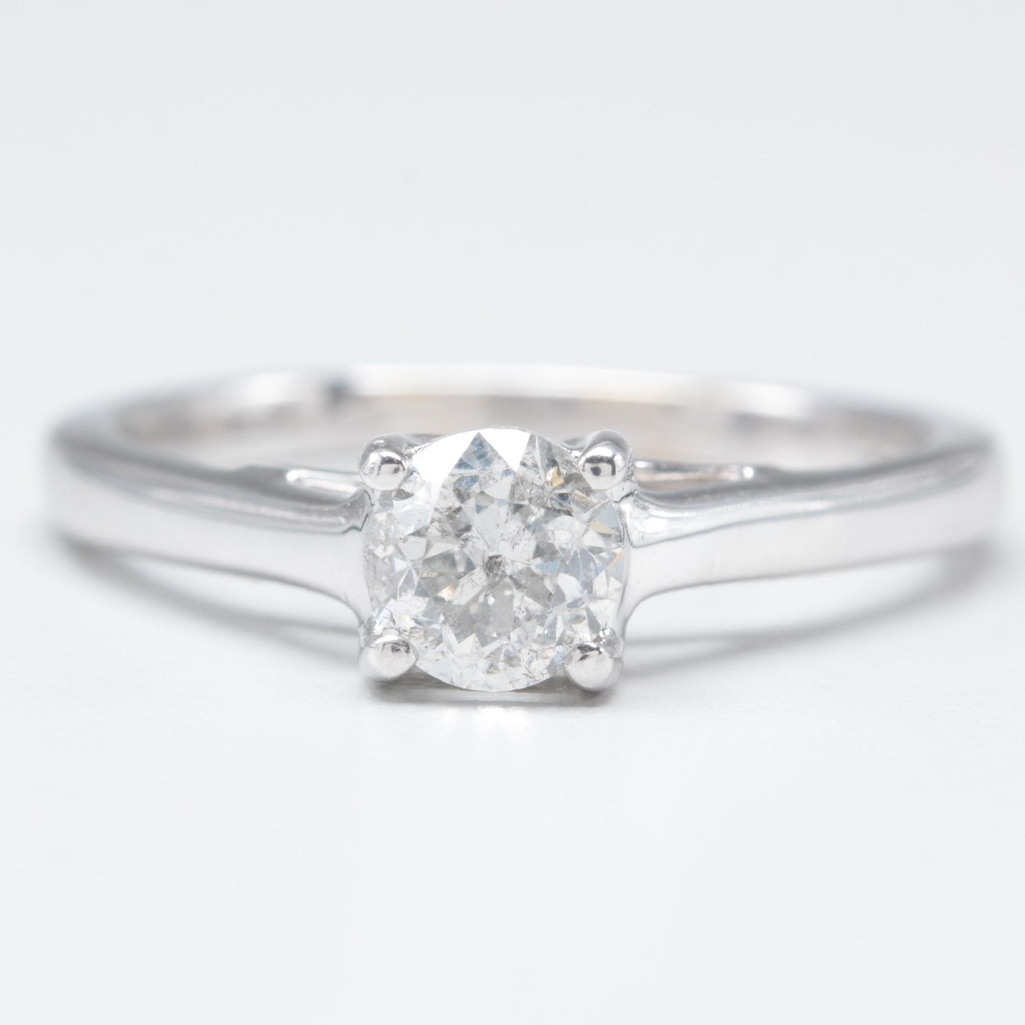14K White Gold and Platinum Diamond Solitaire Tolkowsky Ring