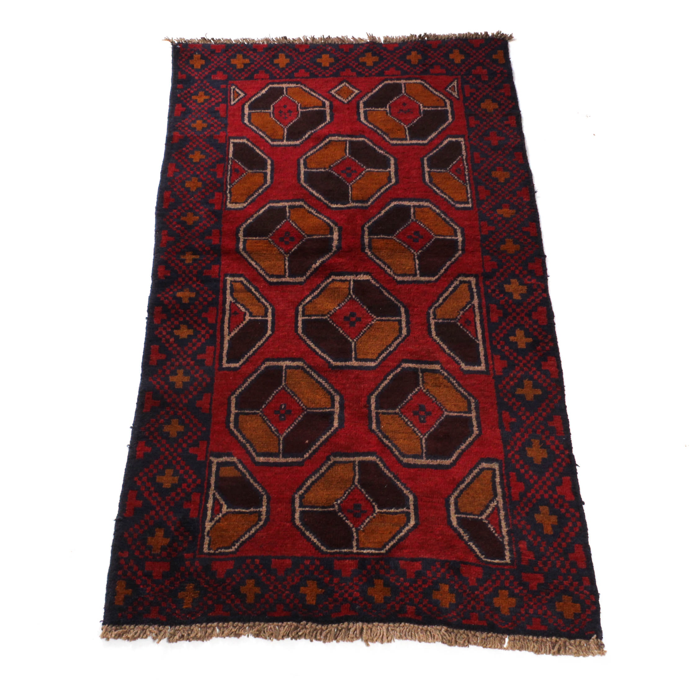 Semi-Antique Hand-Knotted Afghani Balouch Rug