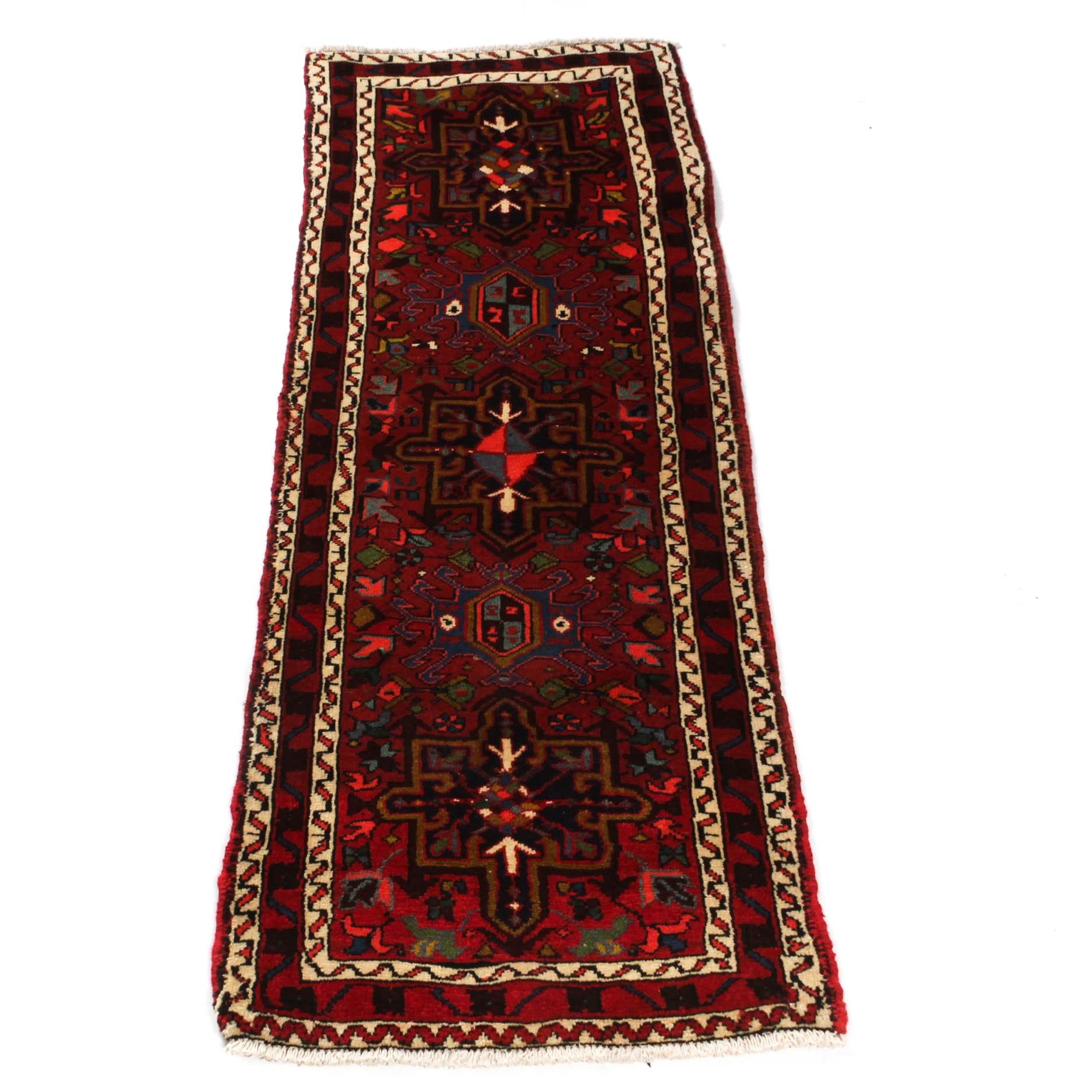 Hand-Knotted Persian Heriz Carpet Runner