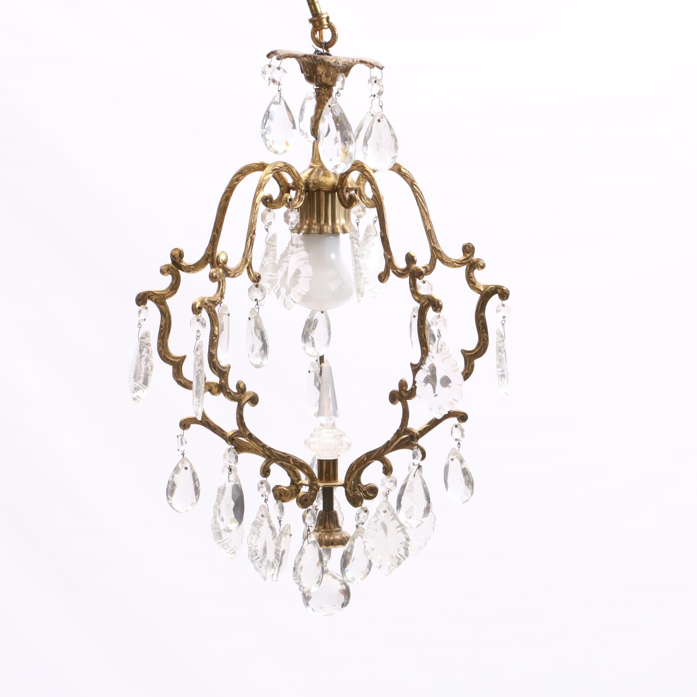 Gold Tone and Prism Chandelier