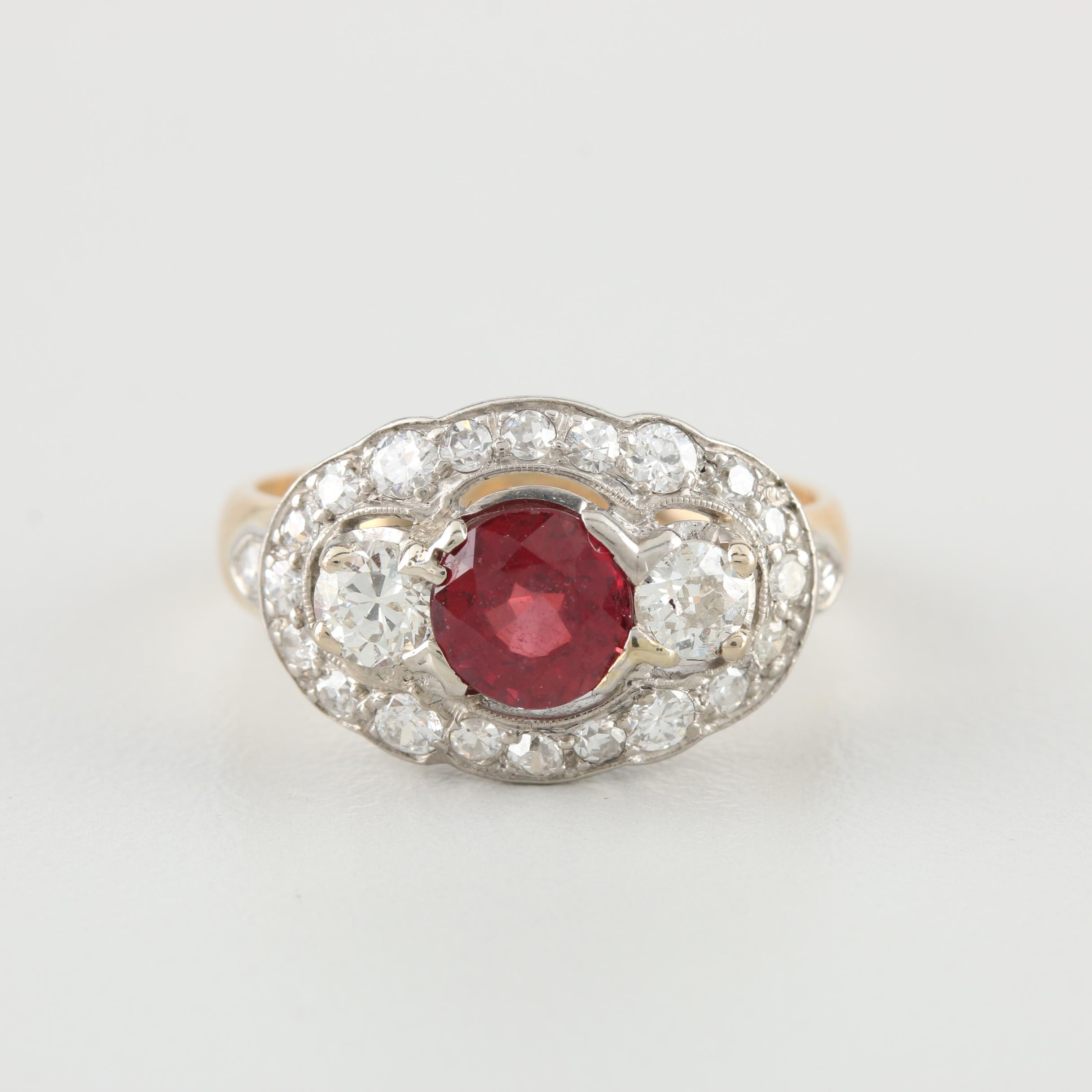 Circa 1930-1940 14K and Palladium Ruby and Diamond Ring