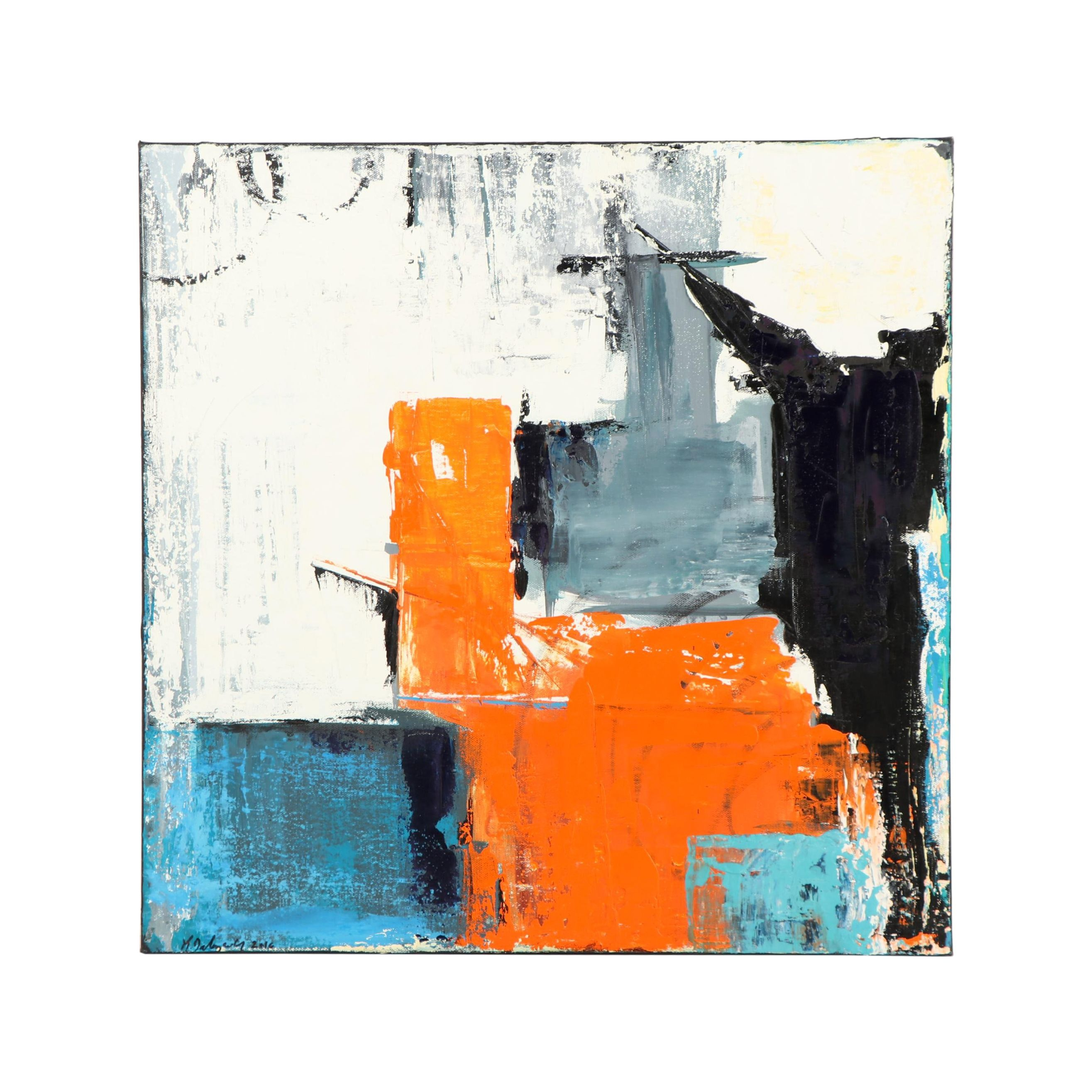 """Kristina Taherzadeh Abstract Oil Painting """"Which Way is Up?"""""""