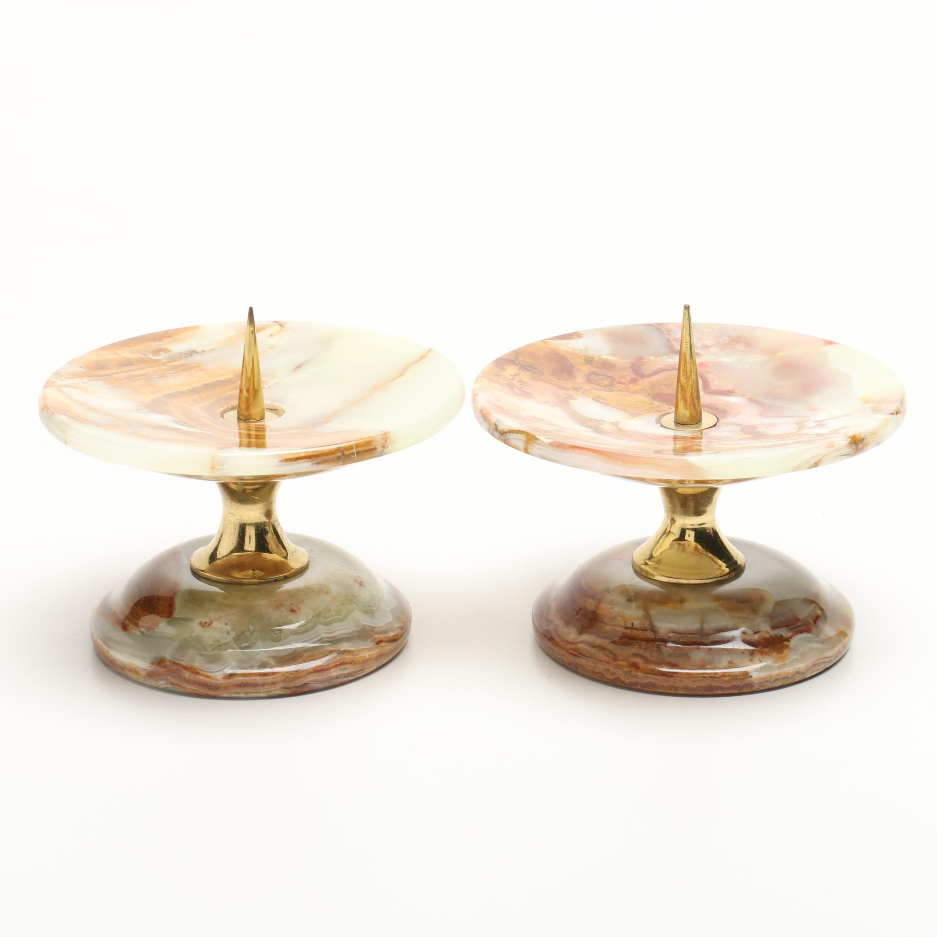 Banded Calcite Candle Holders
