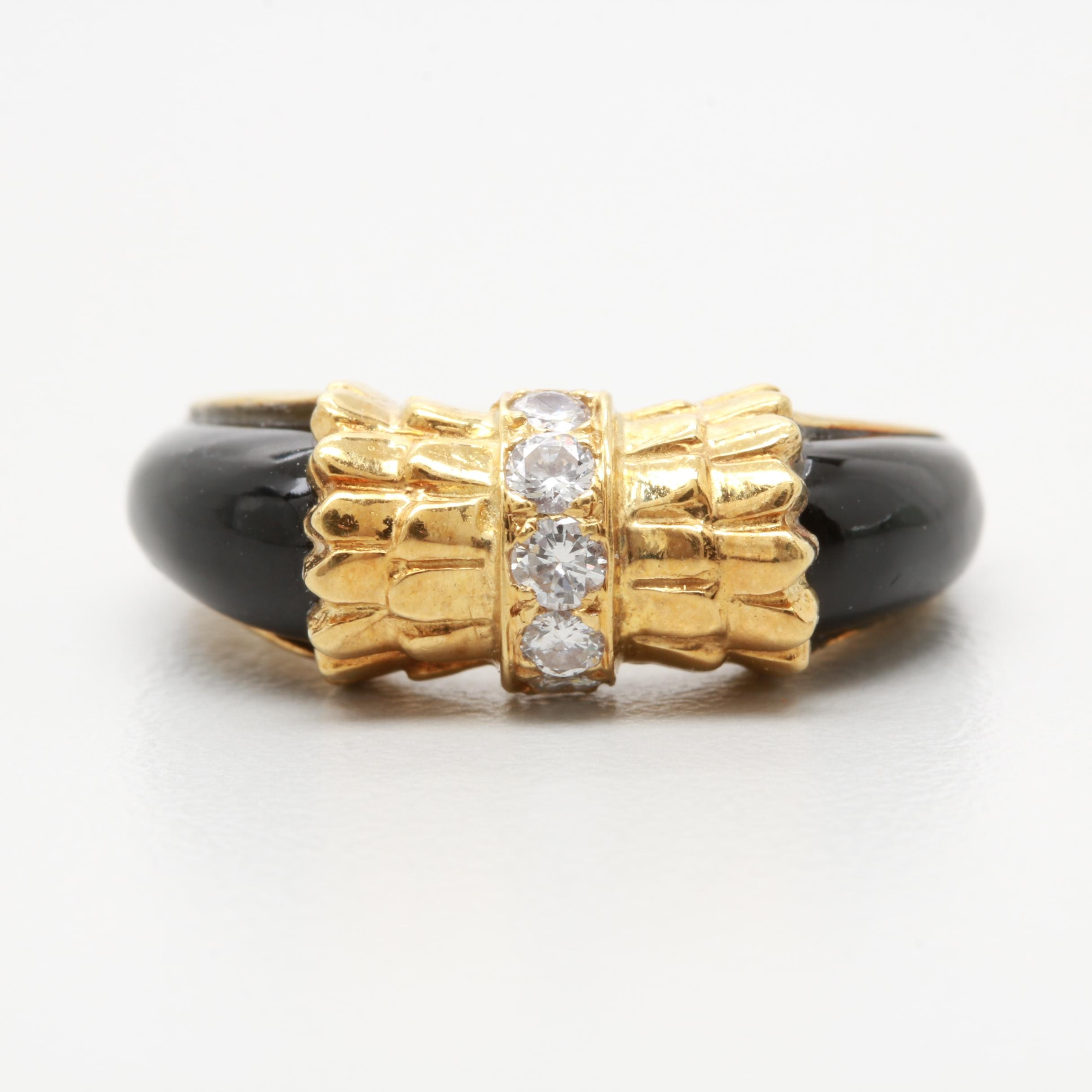 18K Yellow Gold Onyx and Diamond Ring