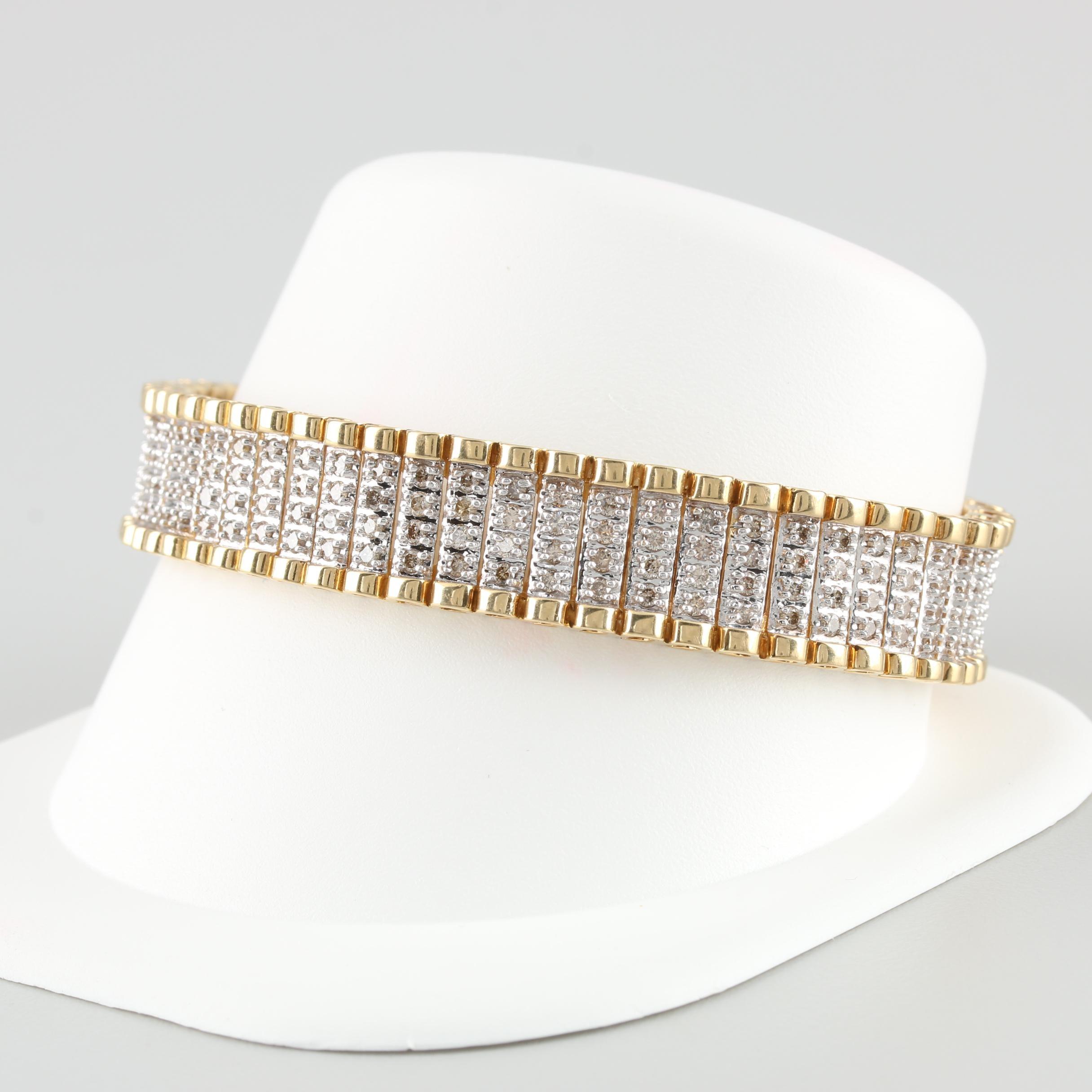 10K Yellow and White Gold 4.64 CTW Diamond Bracelet