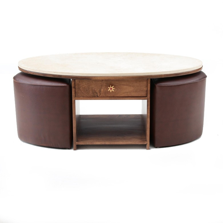 Contemporary Custom Marble Top Coffee Table and Ottomans