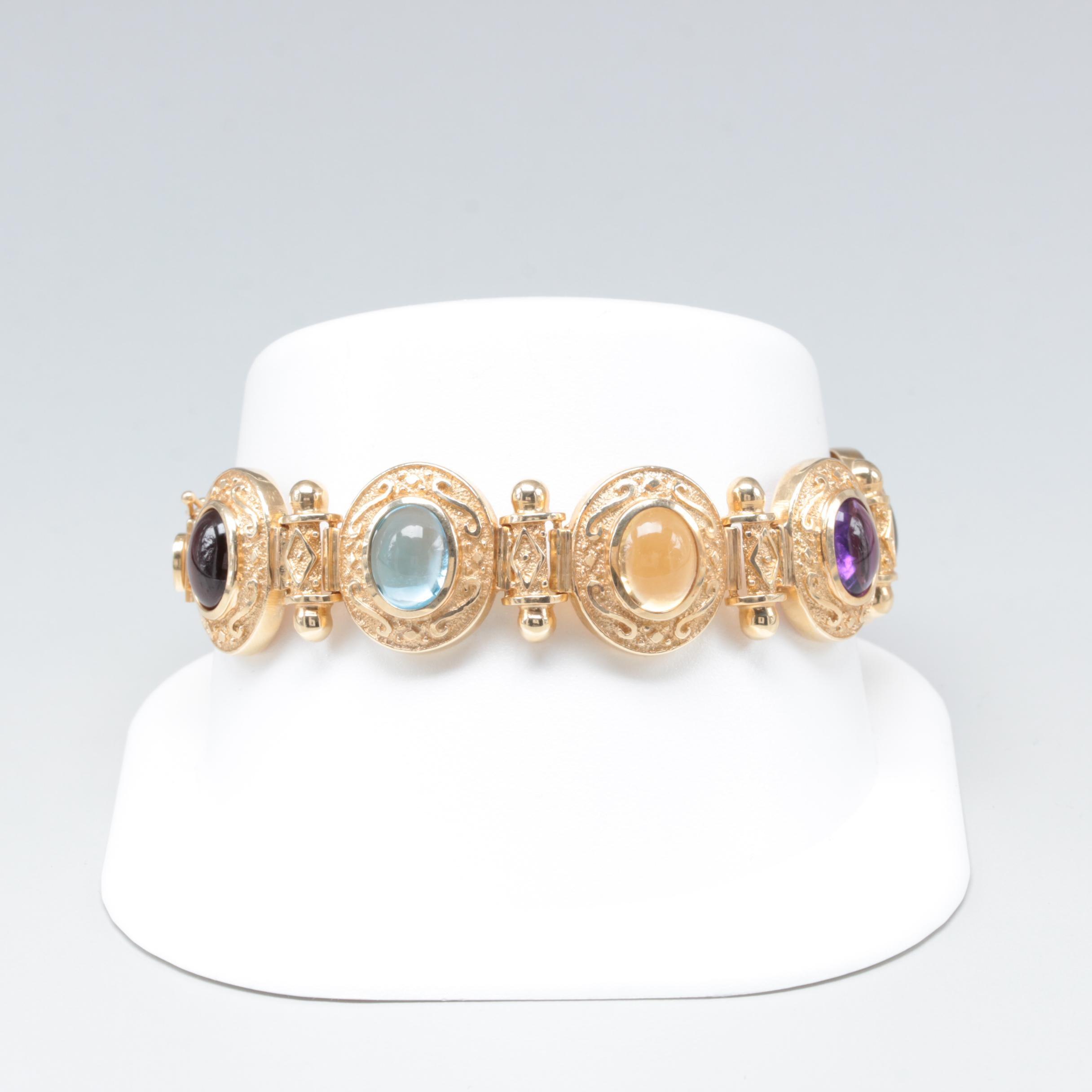 14K Yellow Gold Multi-Gemstone Bracelet