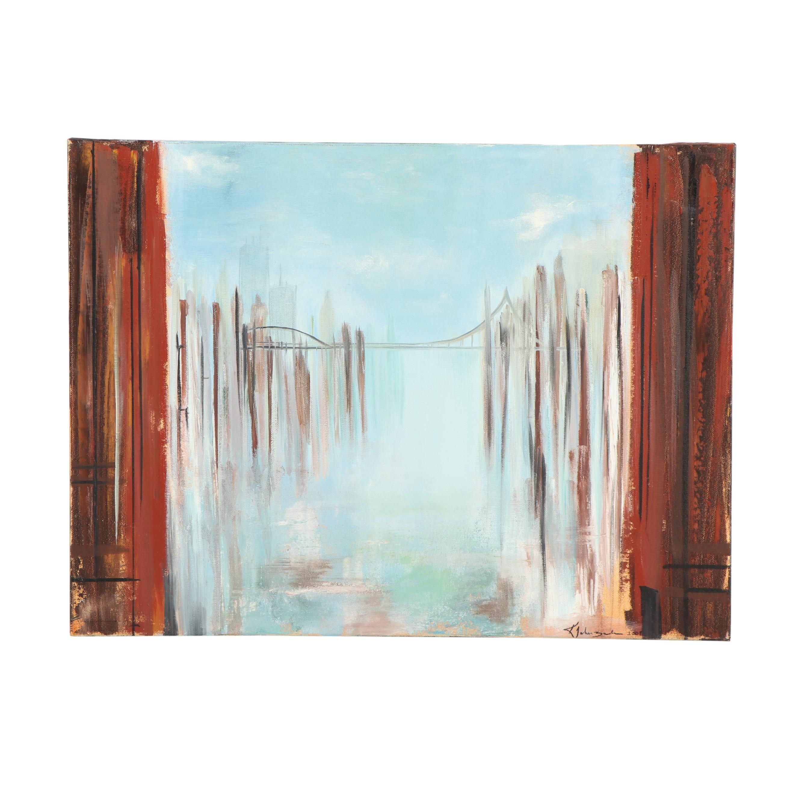 Kristina Taherzadeh Abstract Oil Painting of Bridge Cityscape