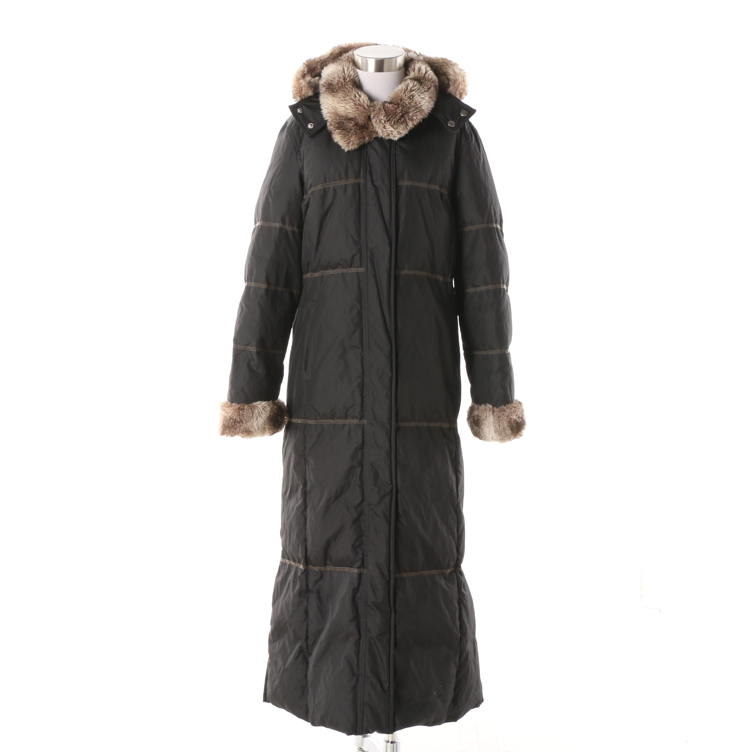 Women's Hilary Radley New York Down Filled Winter Coat with Faux Fur Trim