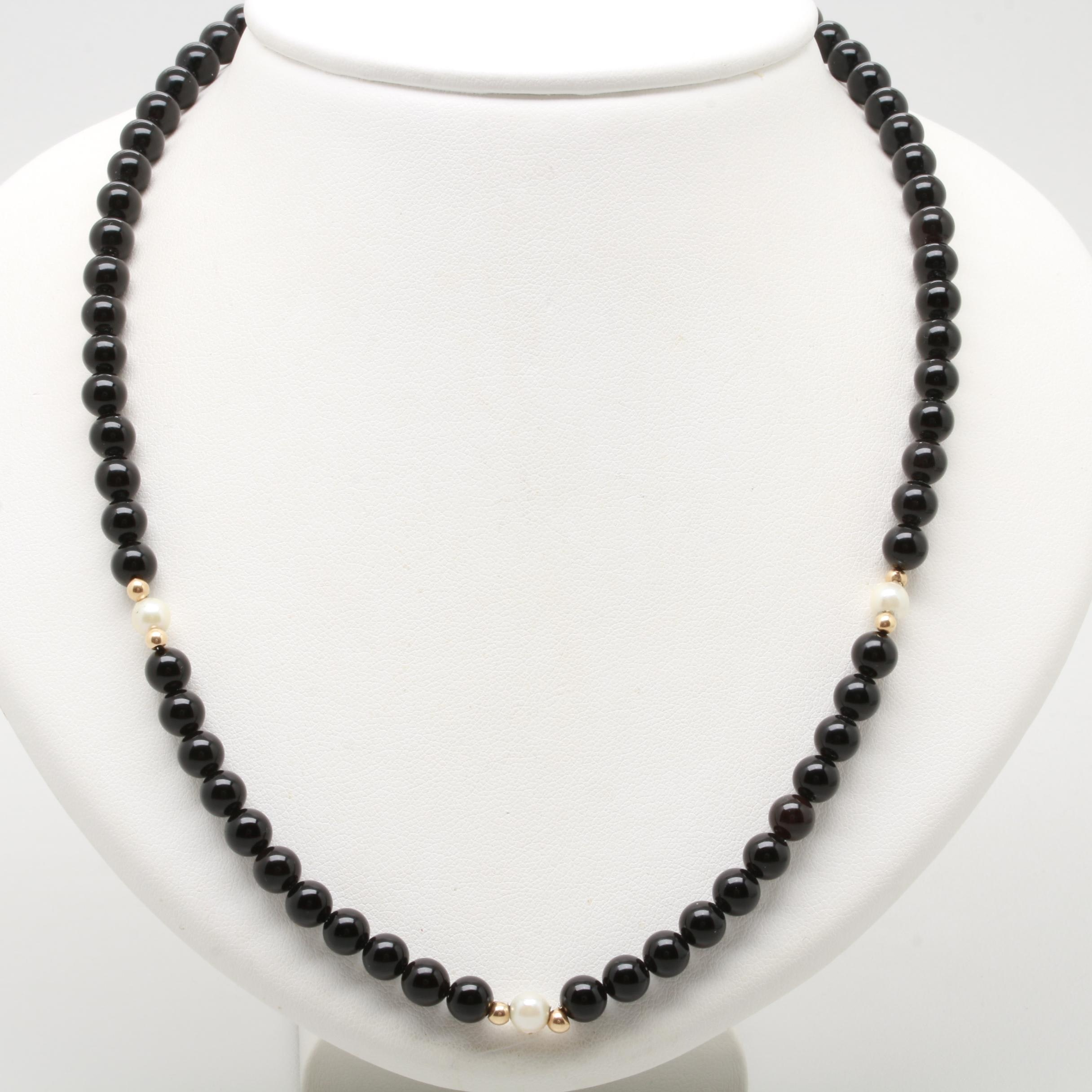 14K Yellow Gold Black Onyx and Cultured Pearl Necklace