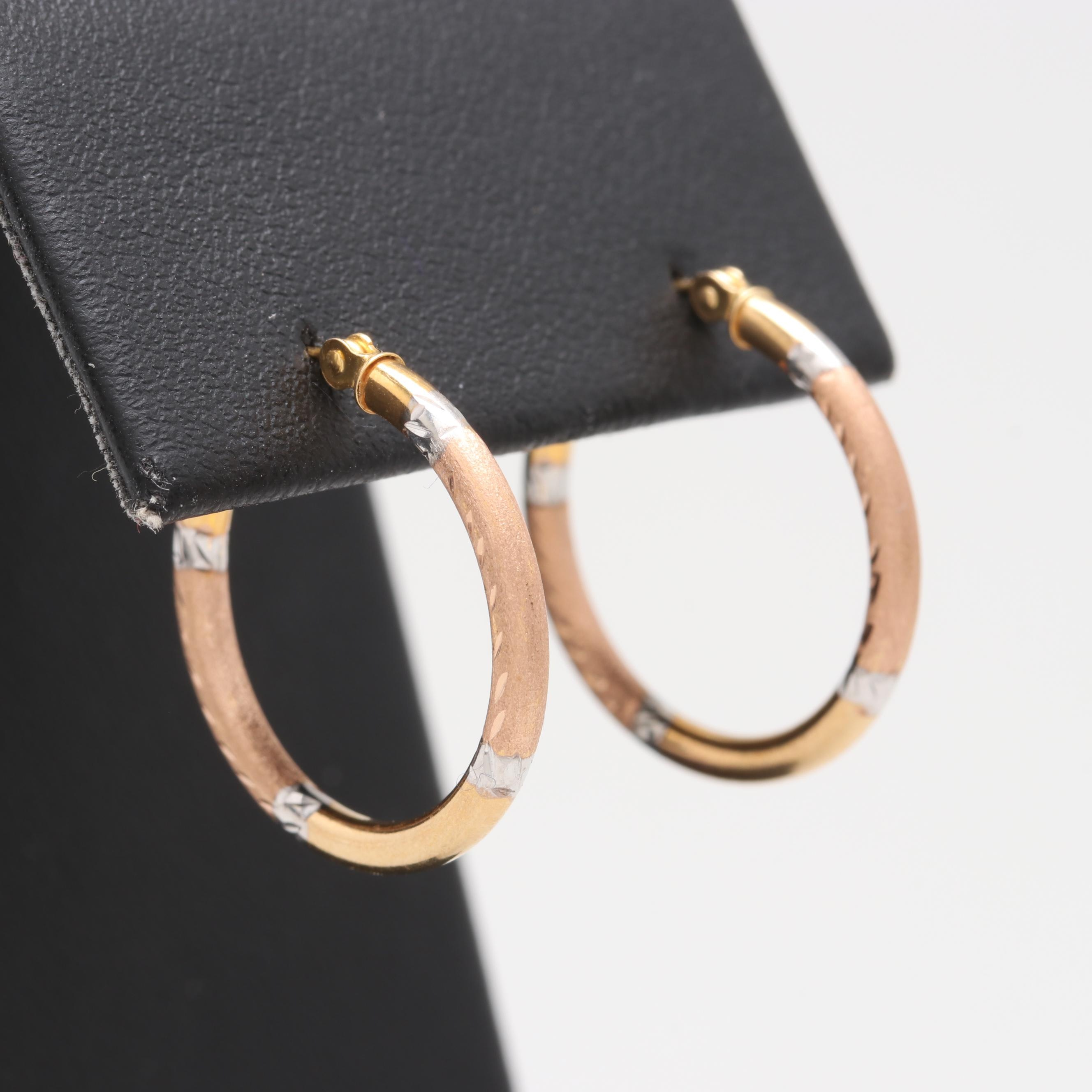14K Yellow, Rose, and White Gold Textured Hoop Earrings
