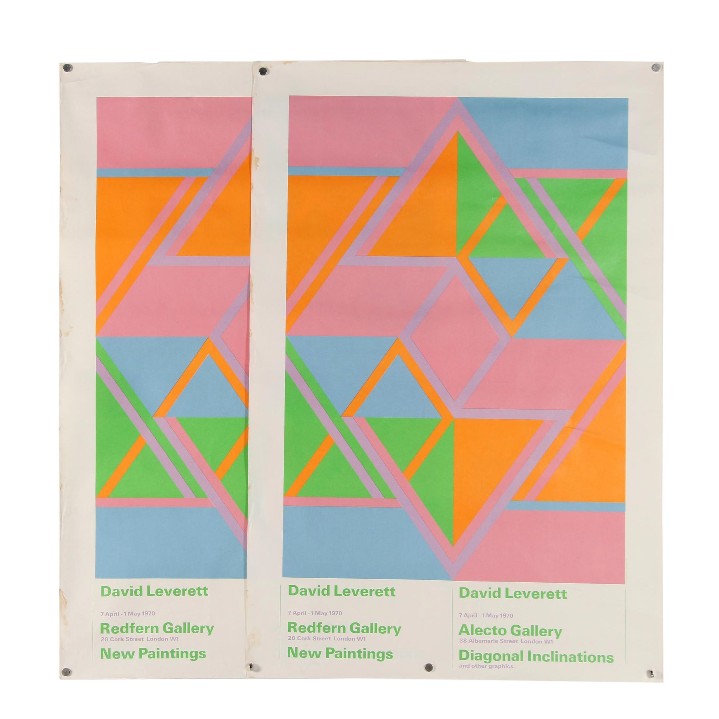 Offset Lithograph 1970 Exhibition Posters after David Leverett