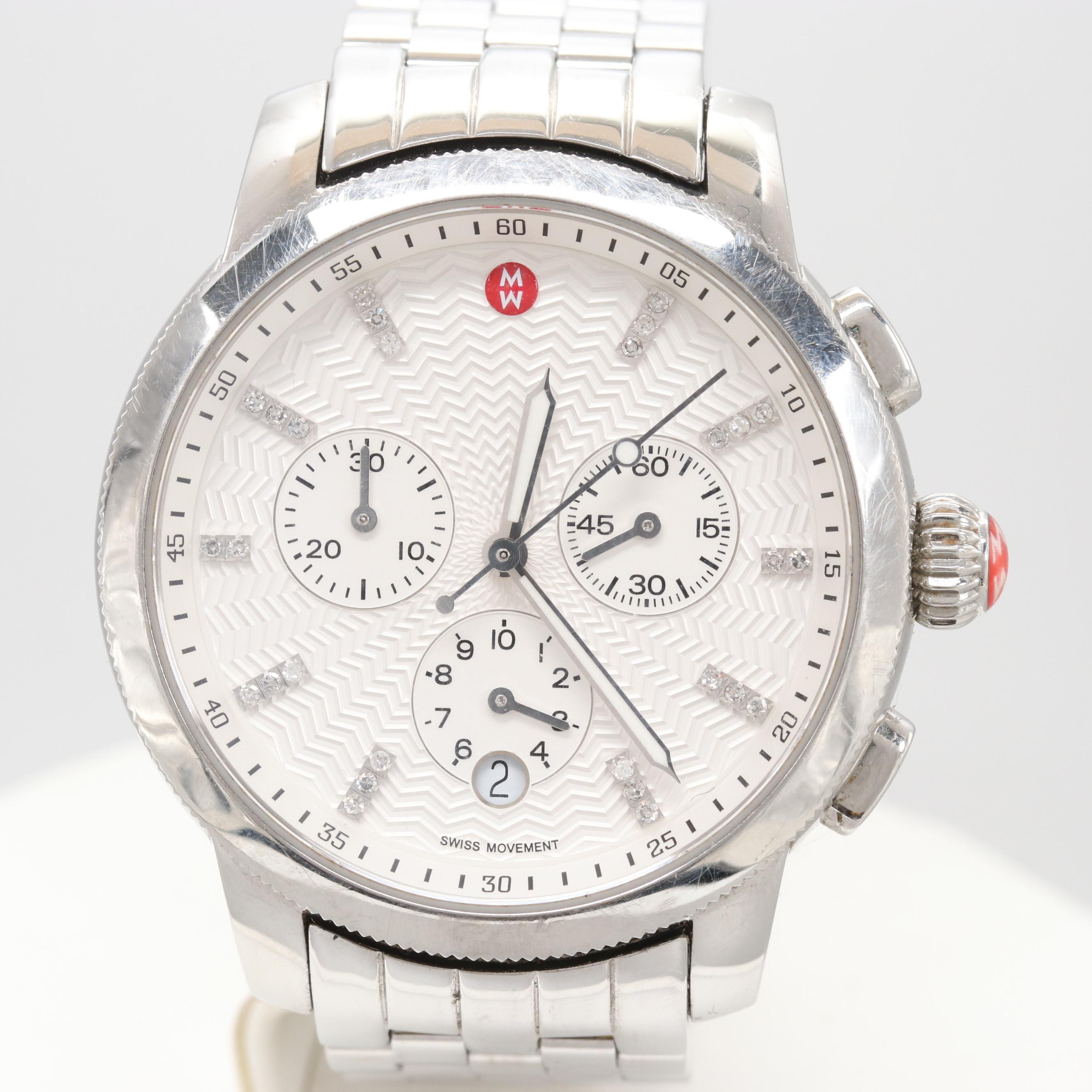 Michele Uptown Stainless Steel Diamond Chronograph Wristwatch