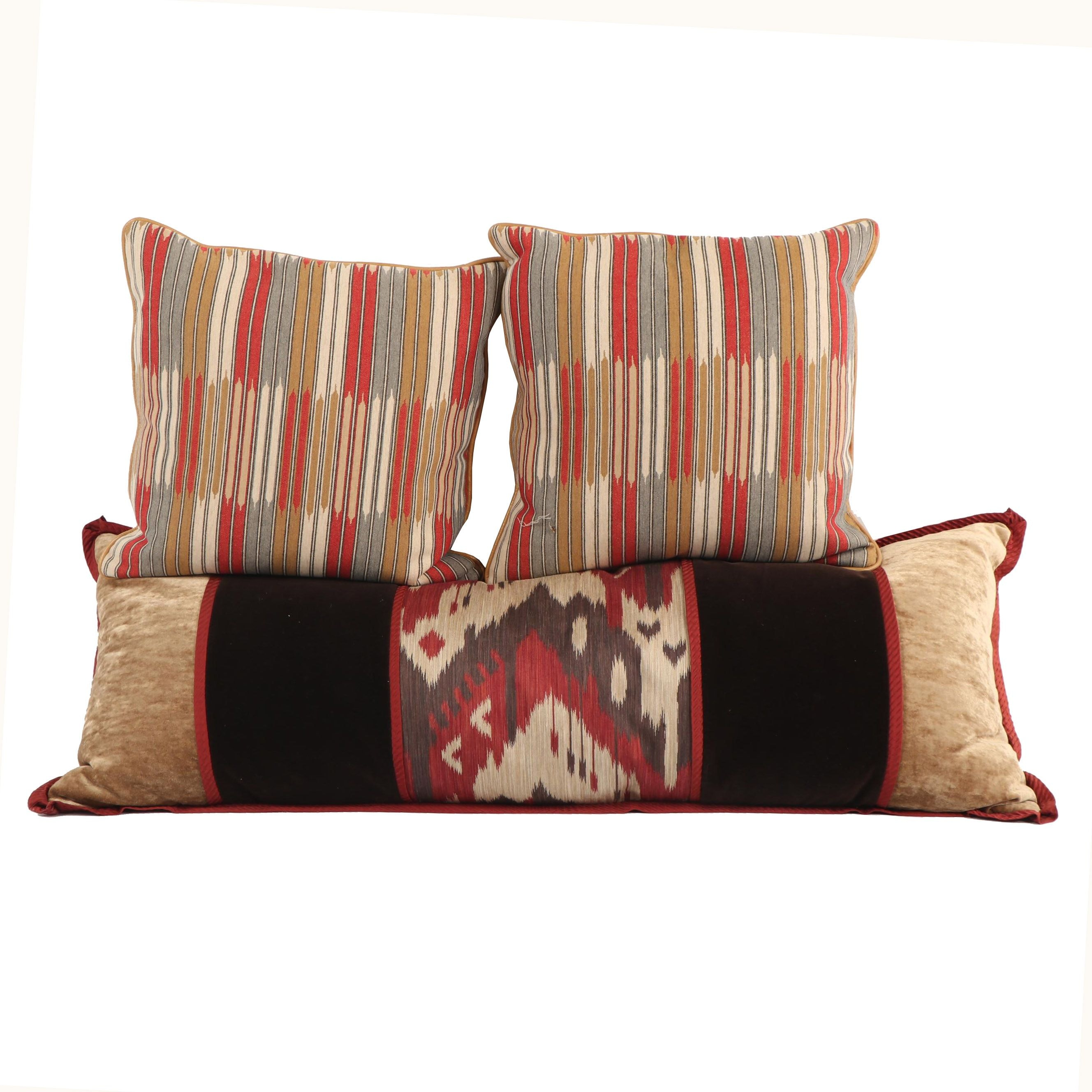 Custom Bed Bolster and Accent Pillows including Ikat Pattern