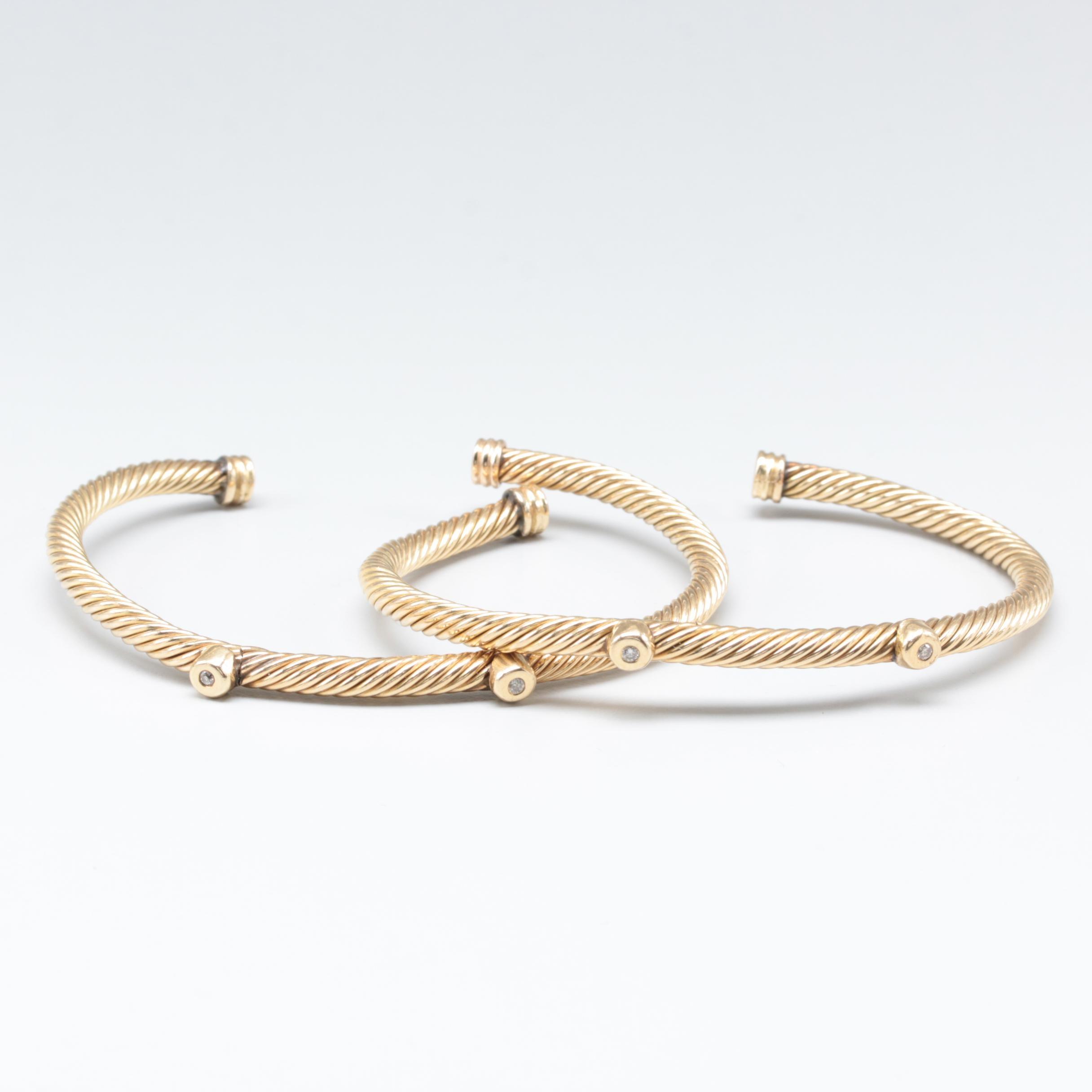 14K Yellow Gold Diamond Cable Bracelet Selection