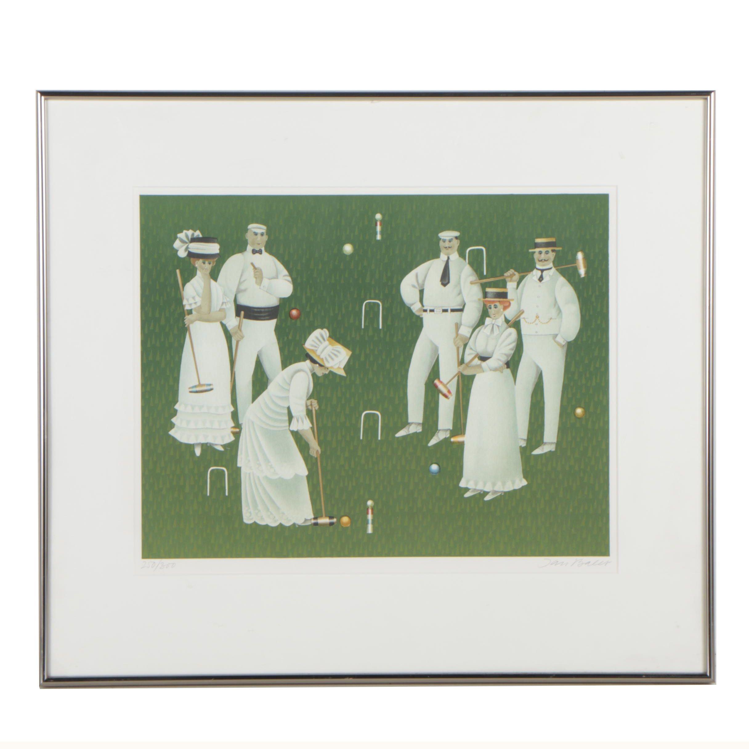 Jan Balet Color Lithograph of Croquet Players