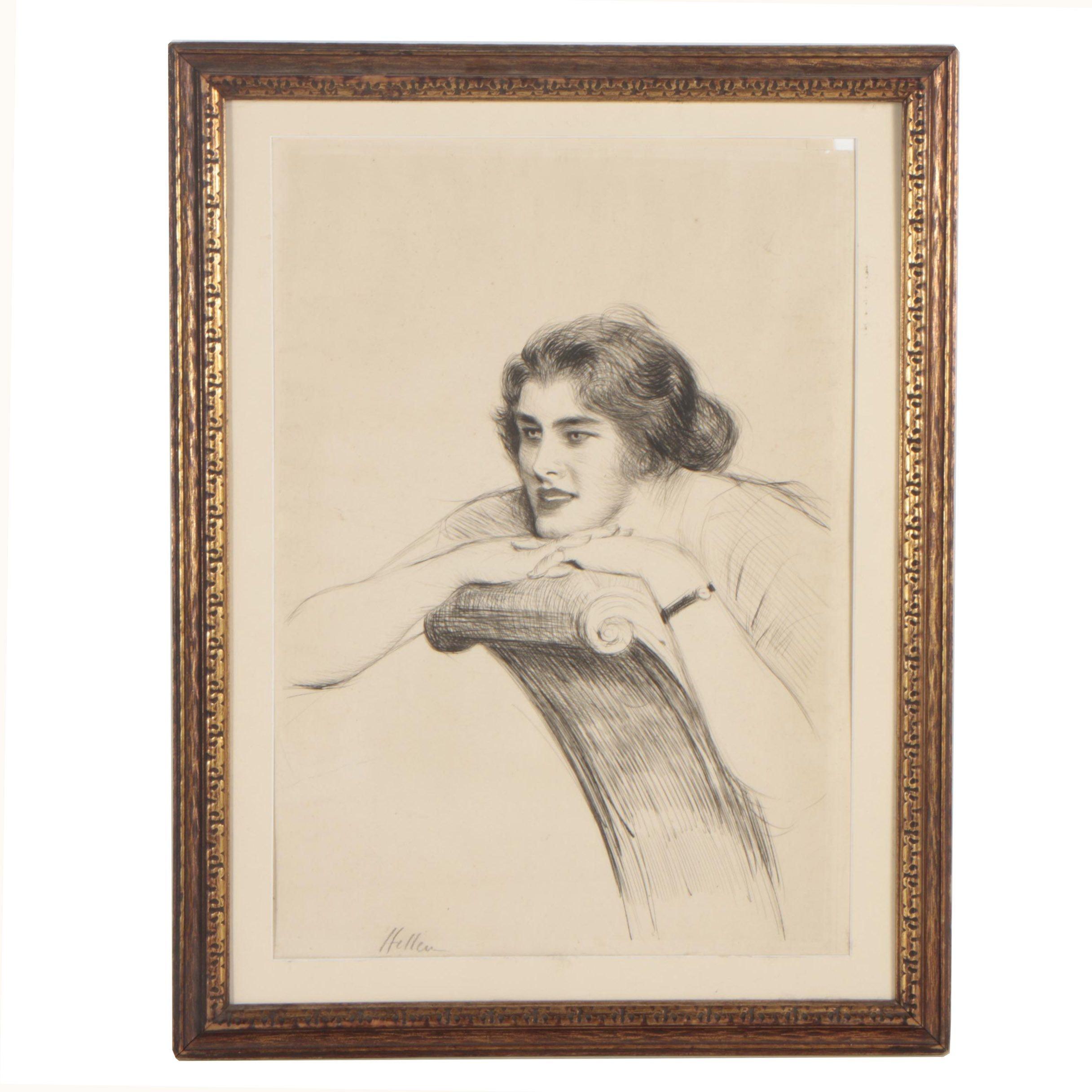 Vintage Engraving of Seated Figure
