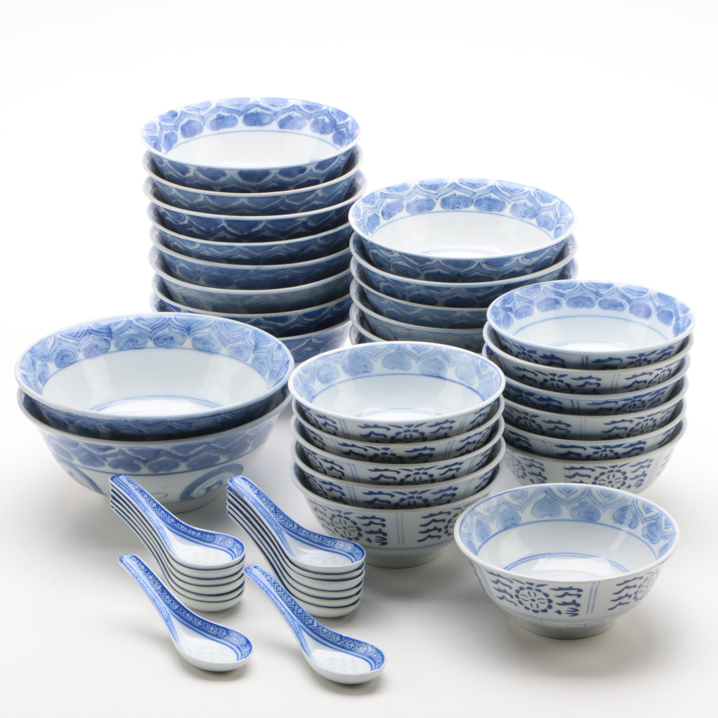Chinese Blue and White Porcelain Rice Bowls and Spoons