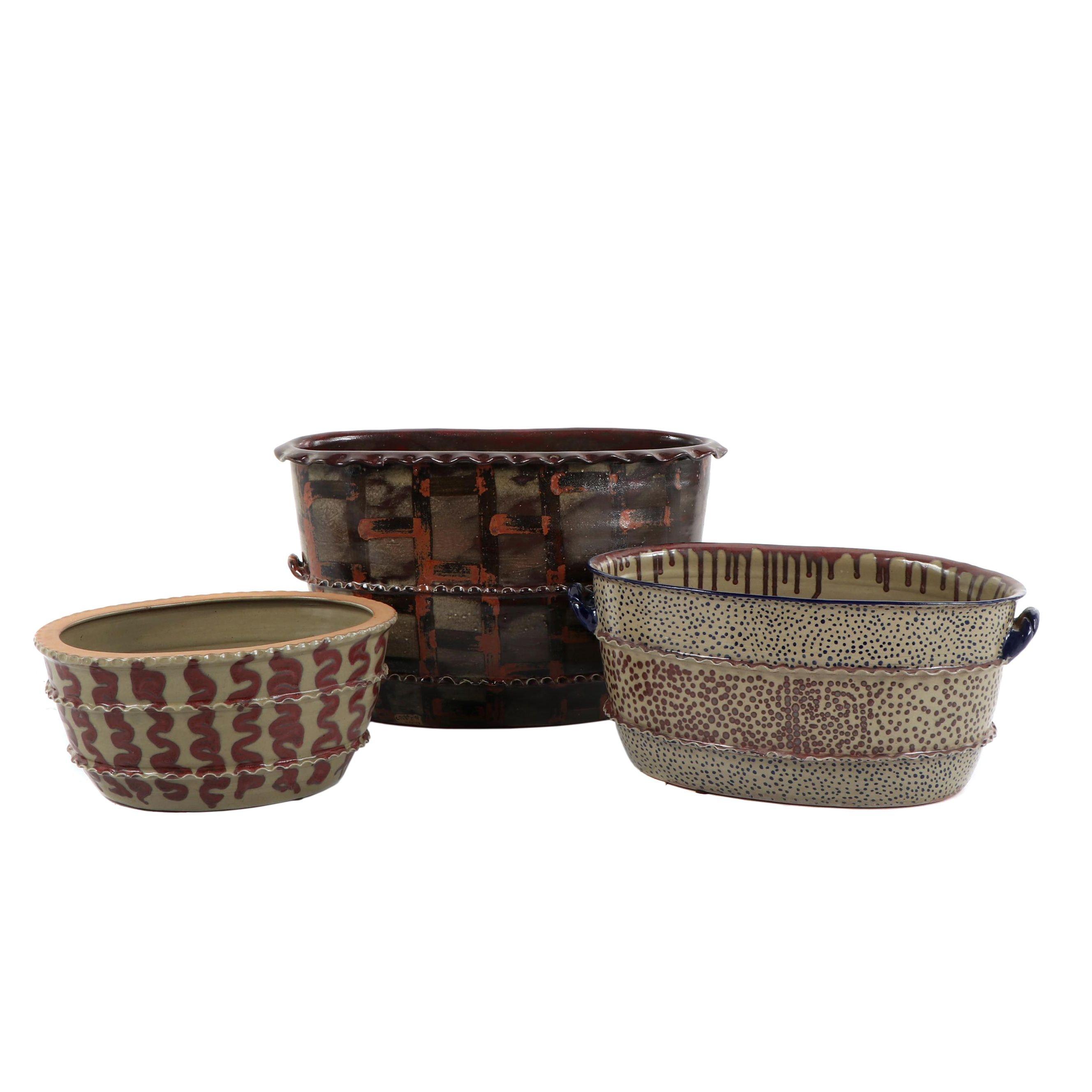 Handmade Oval Earthenware Planters