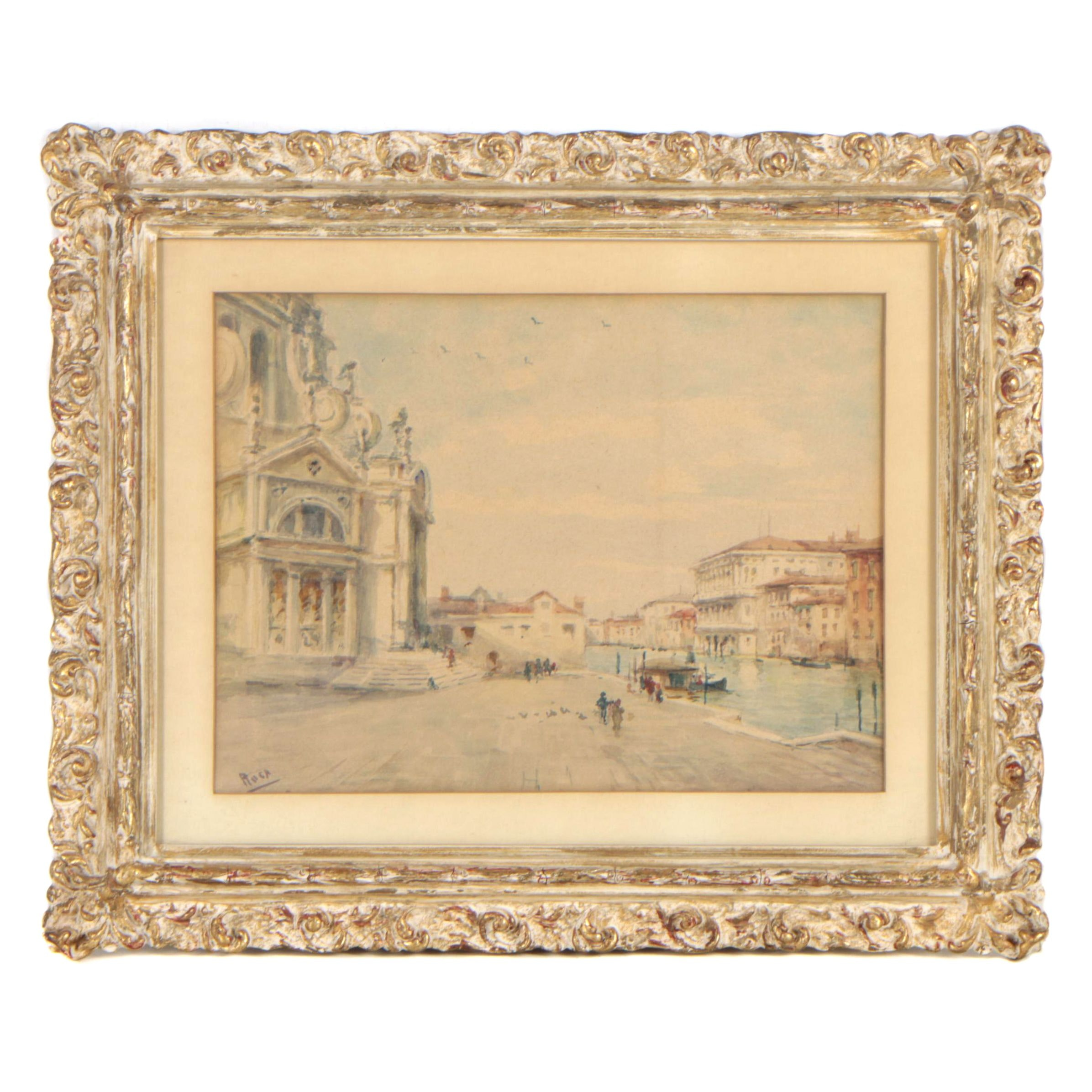 Mid 20th Century Watercolor Painting of Venice
