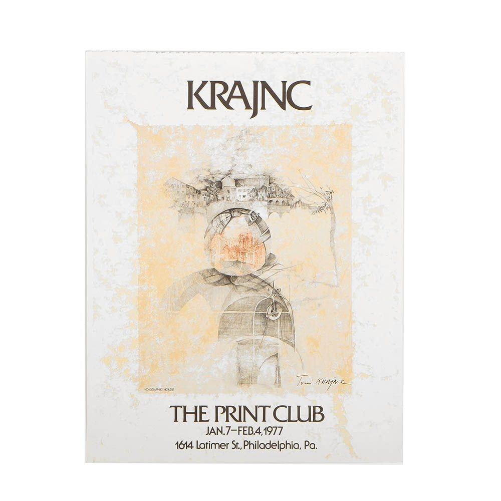 "Color Lithograph Exhibition Poster After Anton Toni Krajnc ""The Print Club"""