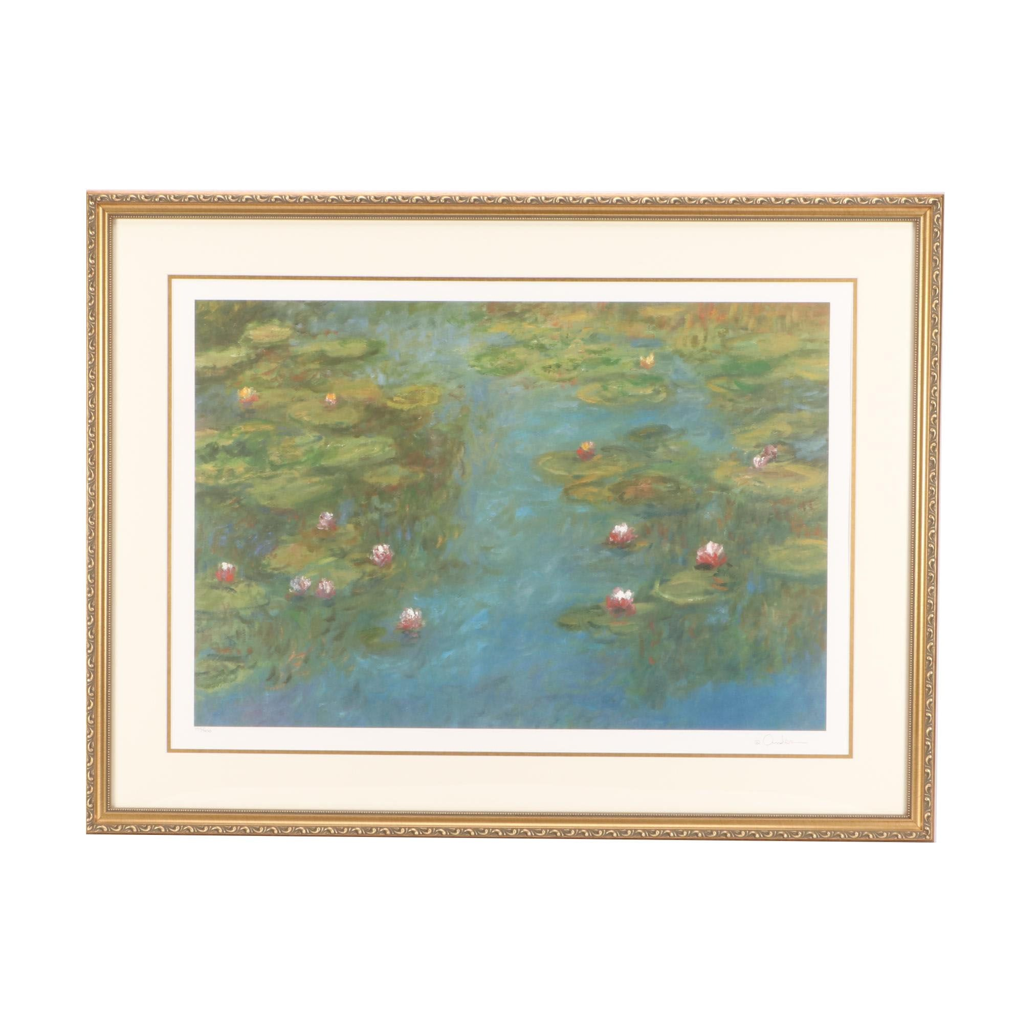 Limited Edition Offset Lithograph of Water Lilies