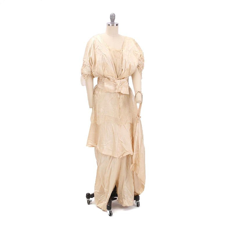 Circa 1910s Antique Silk and Lace Gown