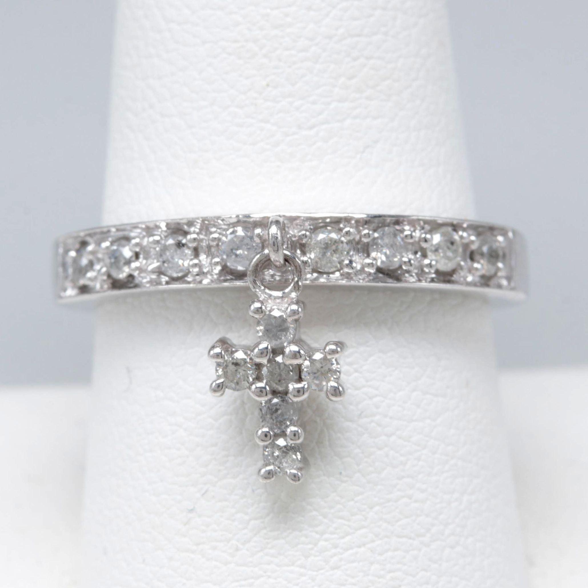Sterling Silver Diamond Cross Charm Ring