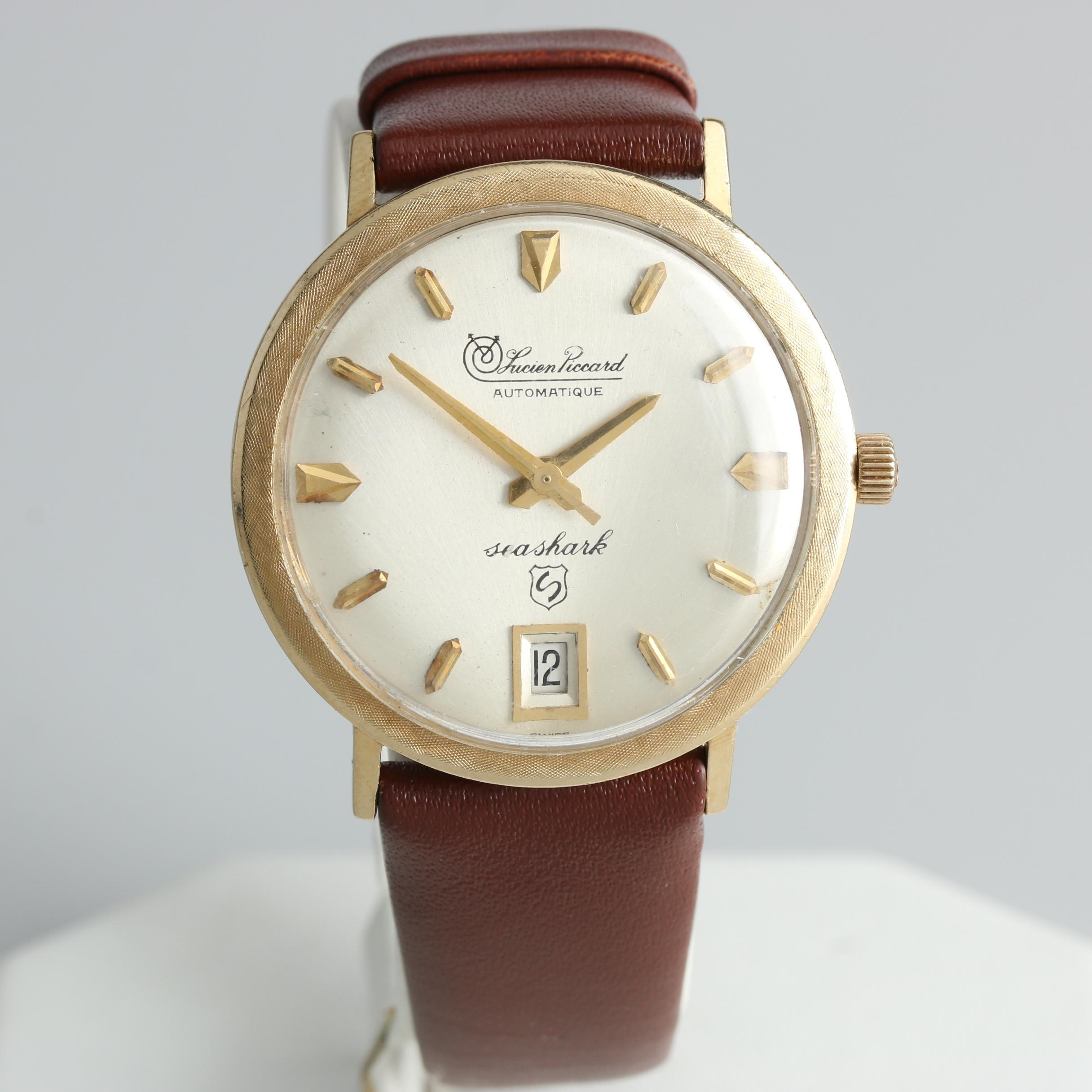 """Lucien Piccard 14K Yellow Gold """"Sea Shark"""" Automatic Wristwatch"""