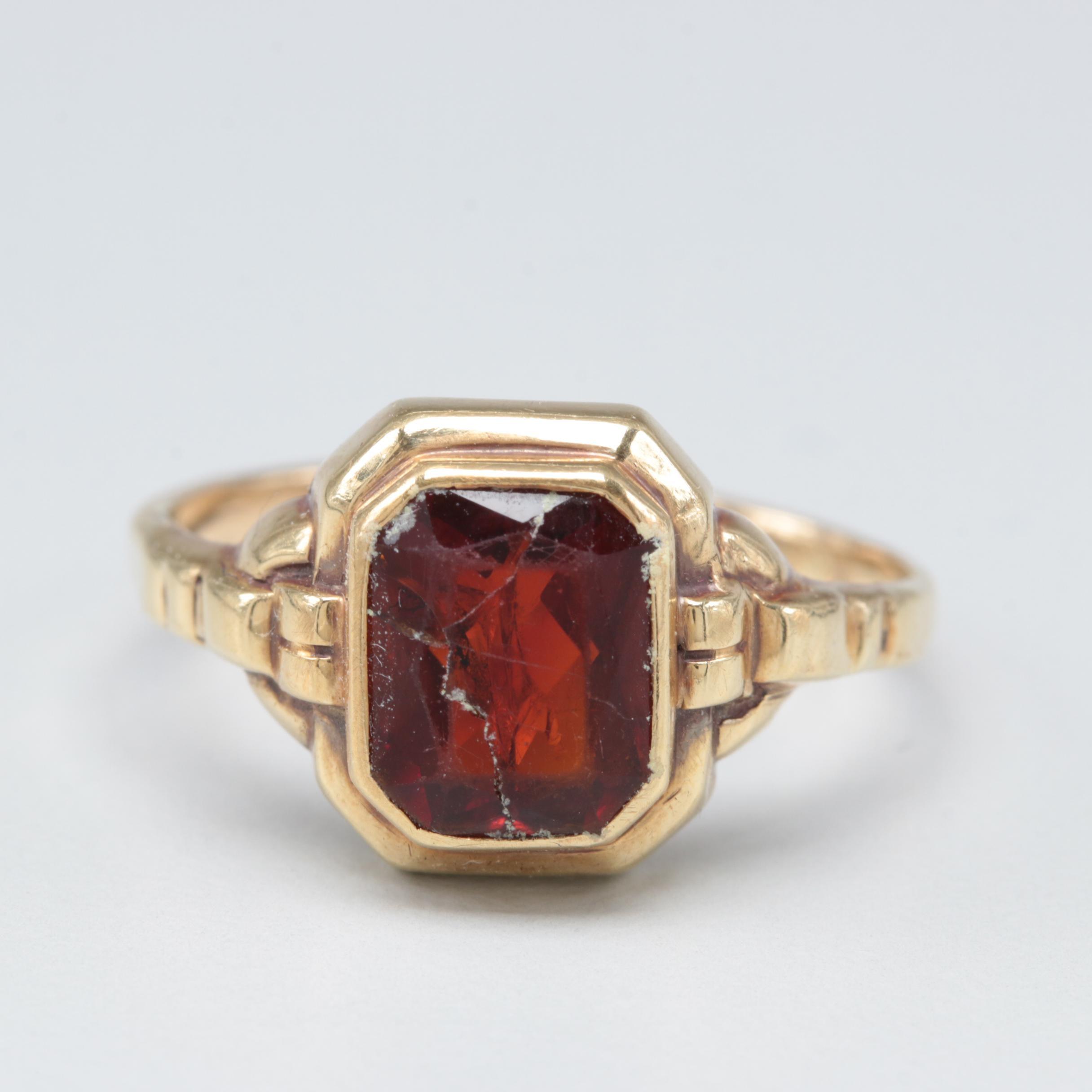 14K Yellow Gold Quartz Ring