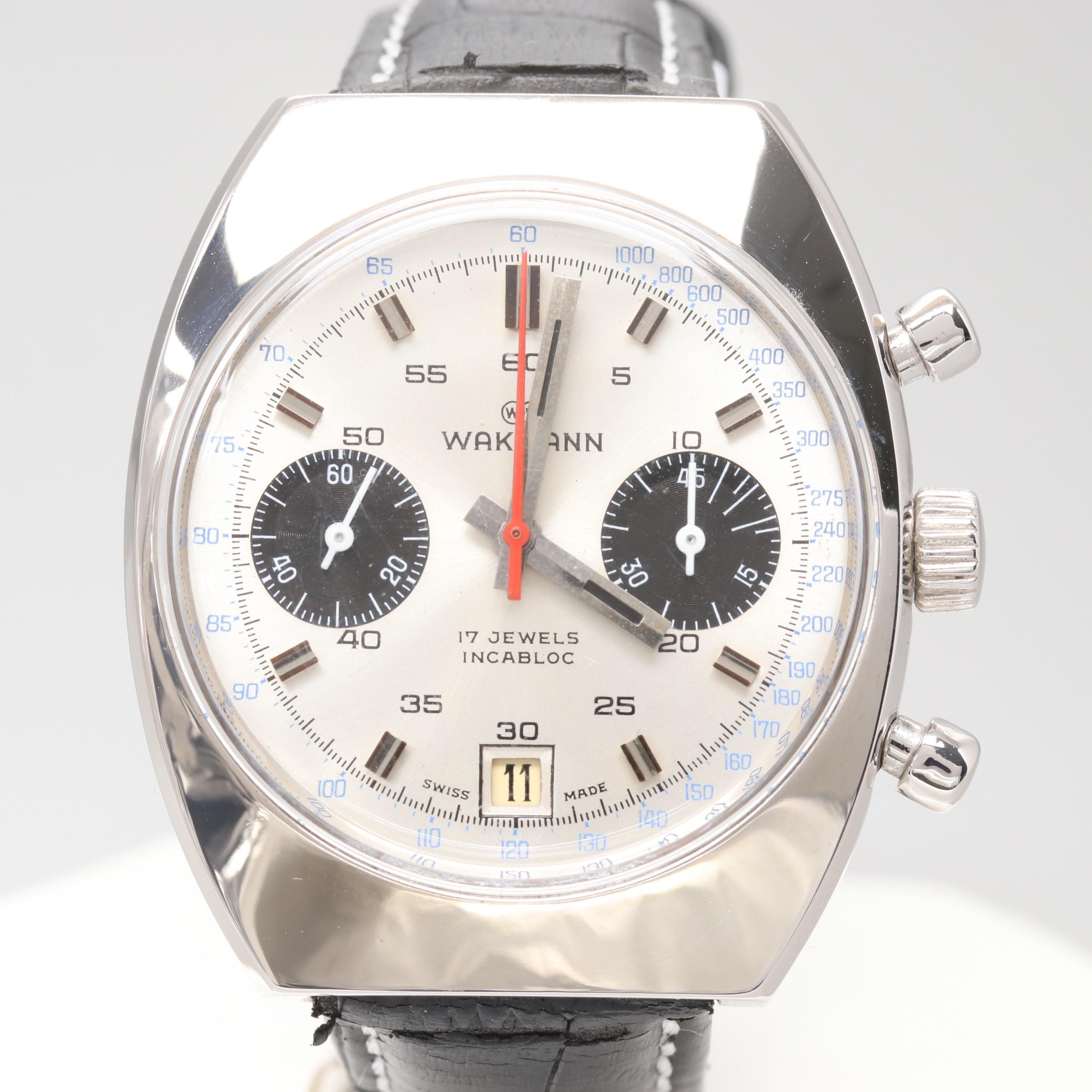 Vintage Wakmann Stem Wind Chronograph Panda Dial Wristwatch