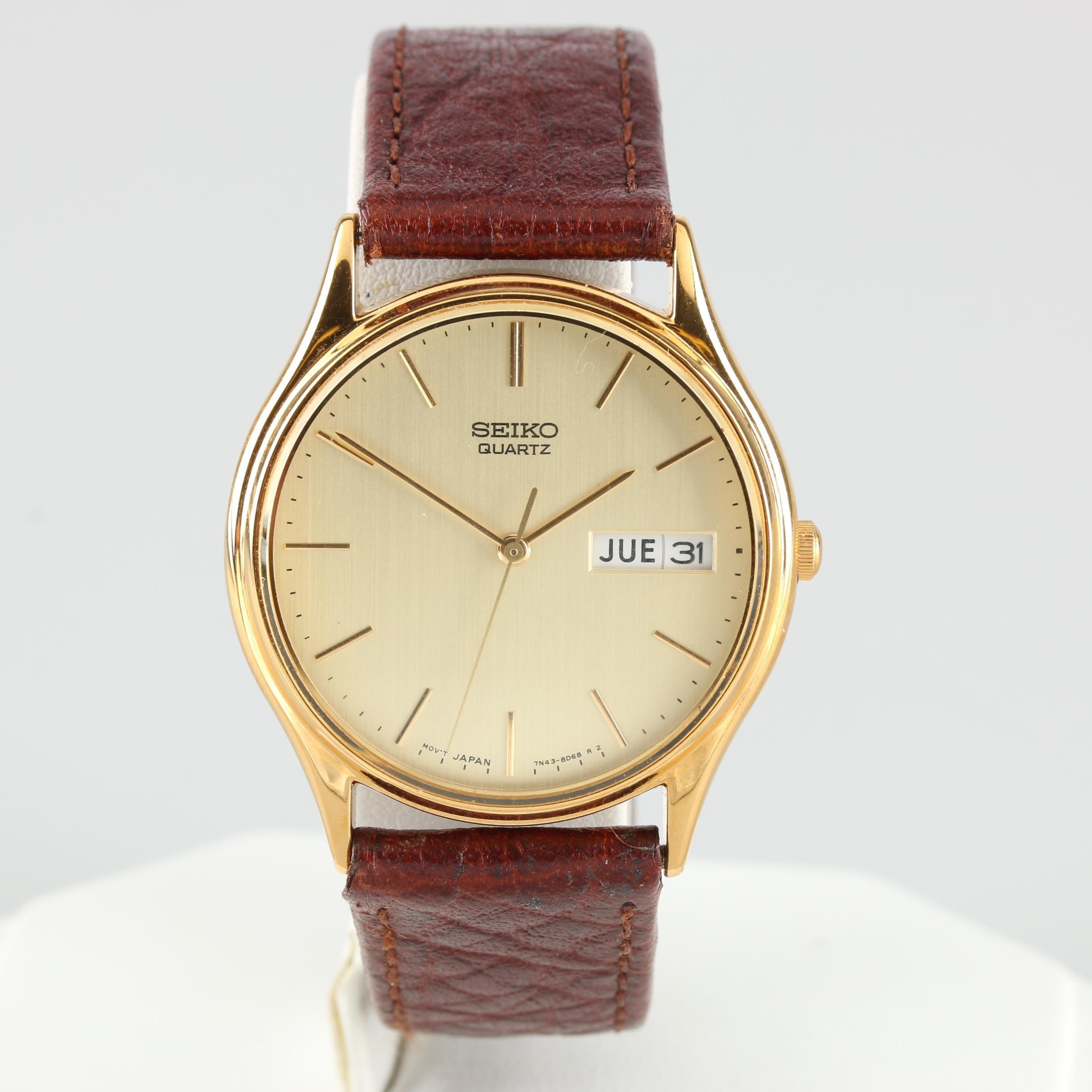 Seiko Gold Tone Quartz Day-Date Wristwatch