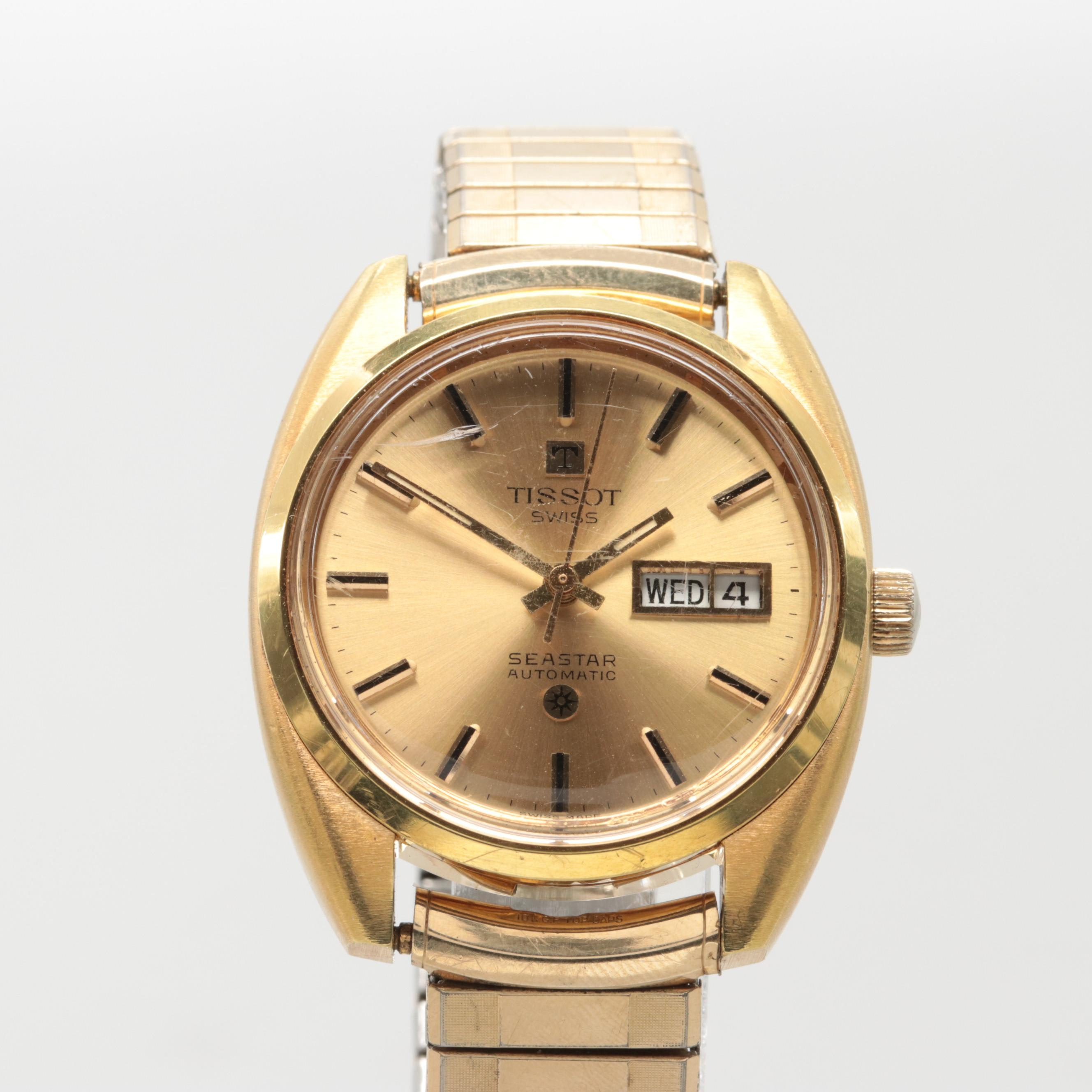 Vintage Tissot Gold Tone Seastar Automatic Wristwatch With Day-Date Window