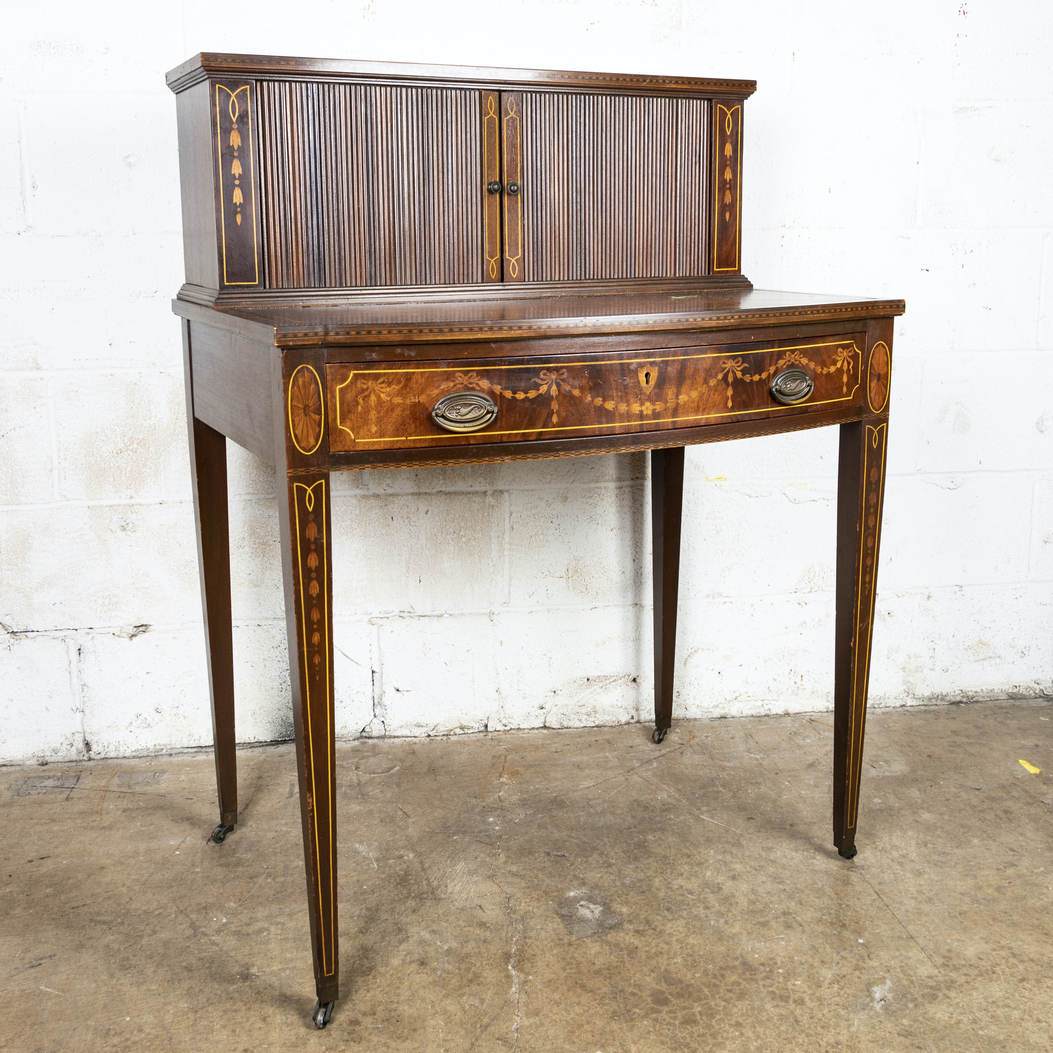 Federal Style Mahogany and Marquetry Tambour Desk, 20th Century
