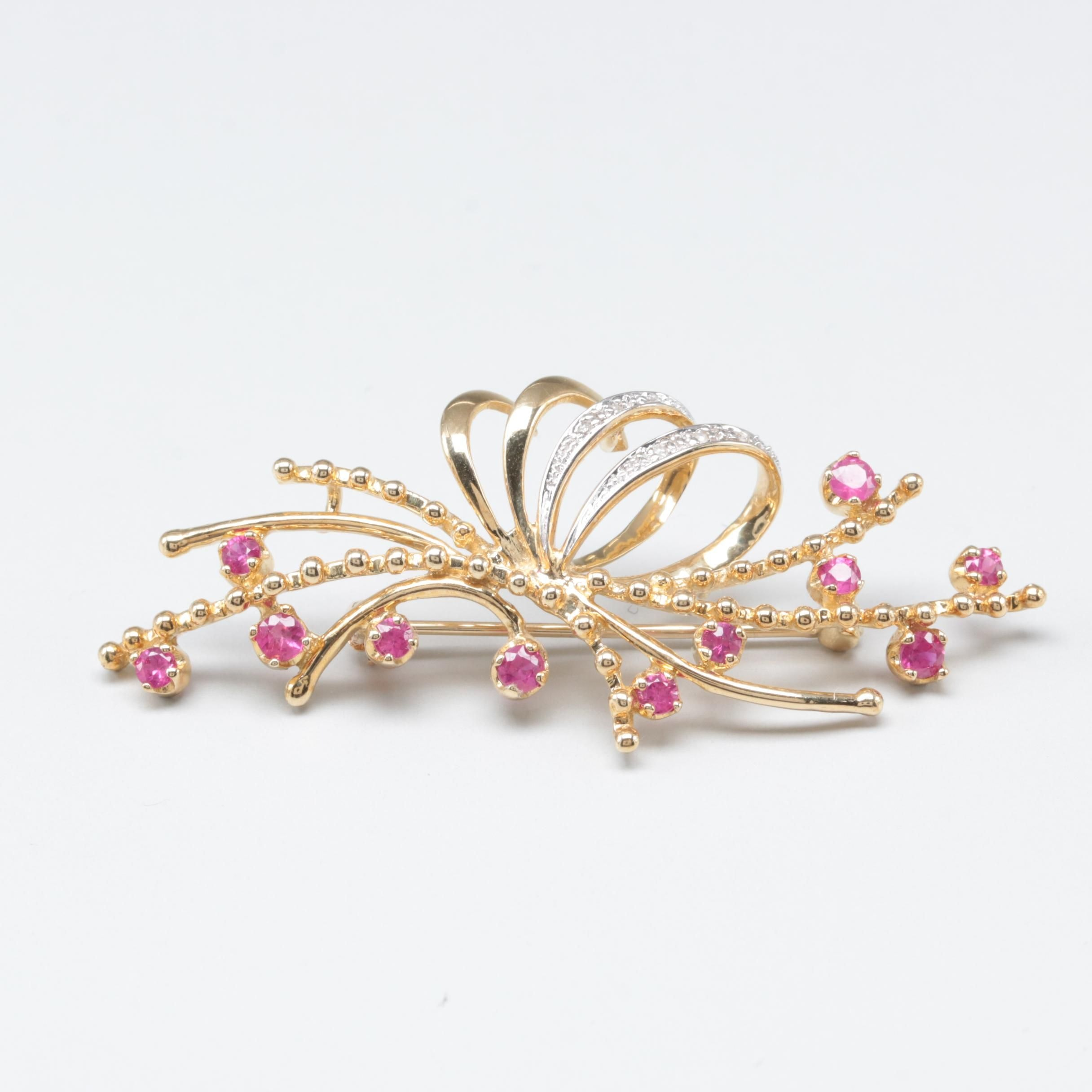 10K Yellow Gold Ruby and Diamond Brooch