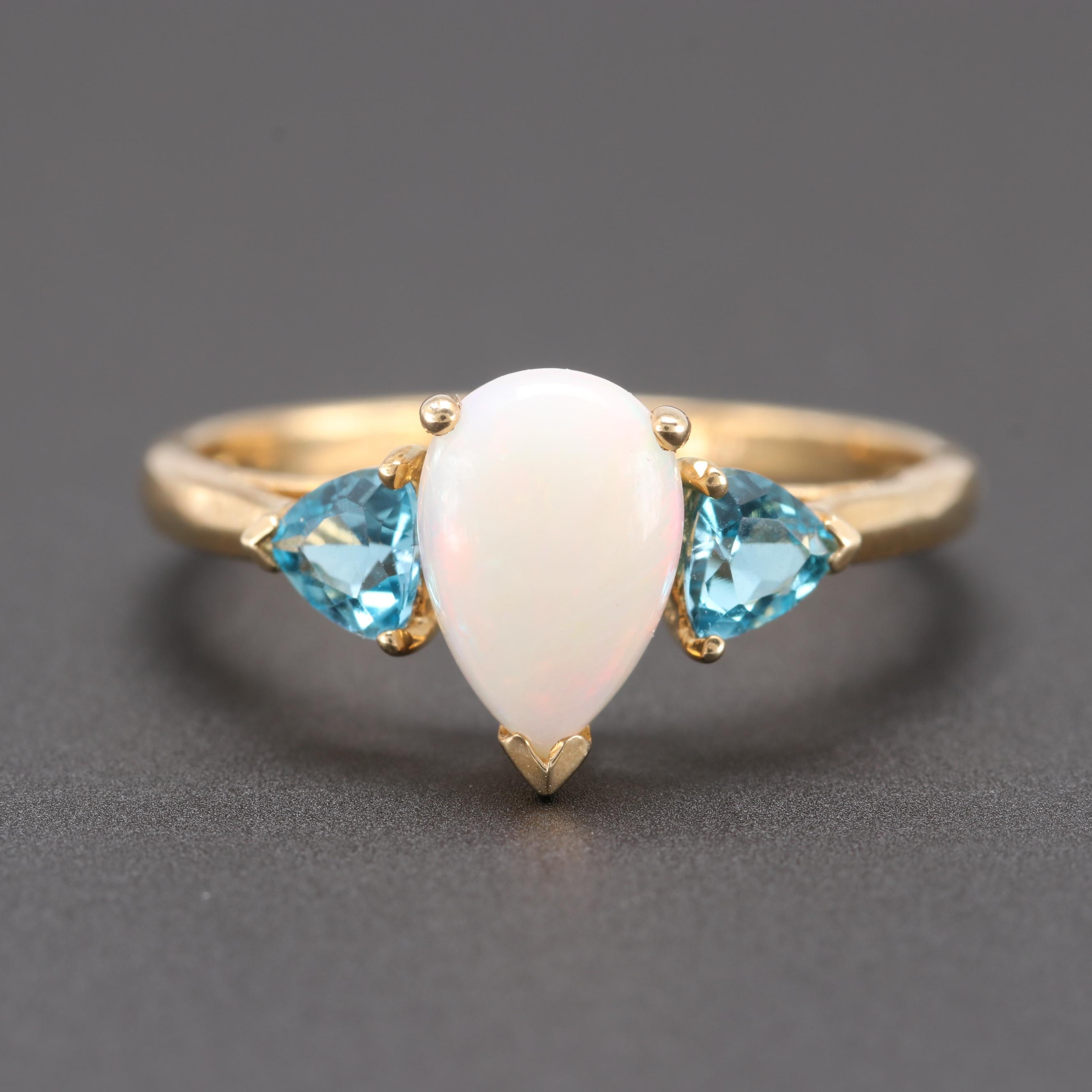 10K Yellow Gold Opal and Blue Topaz Ring