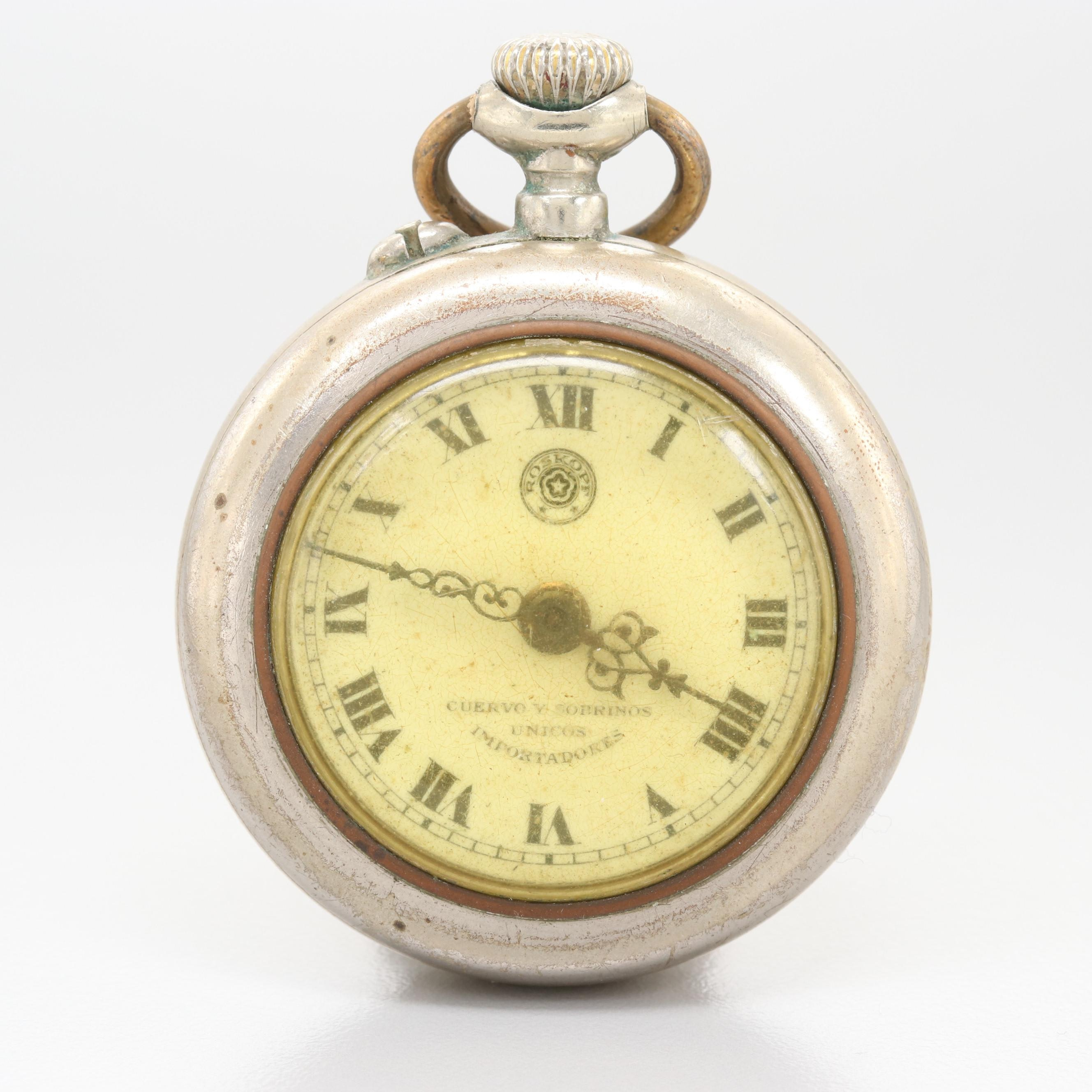 Roskopf by Cuervo y Sobrinos Habana Nickel Pocket Watch