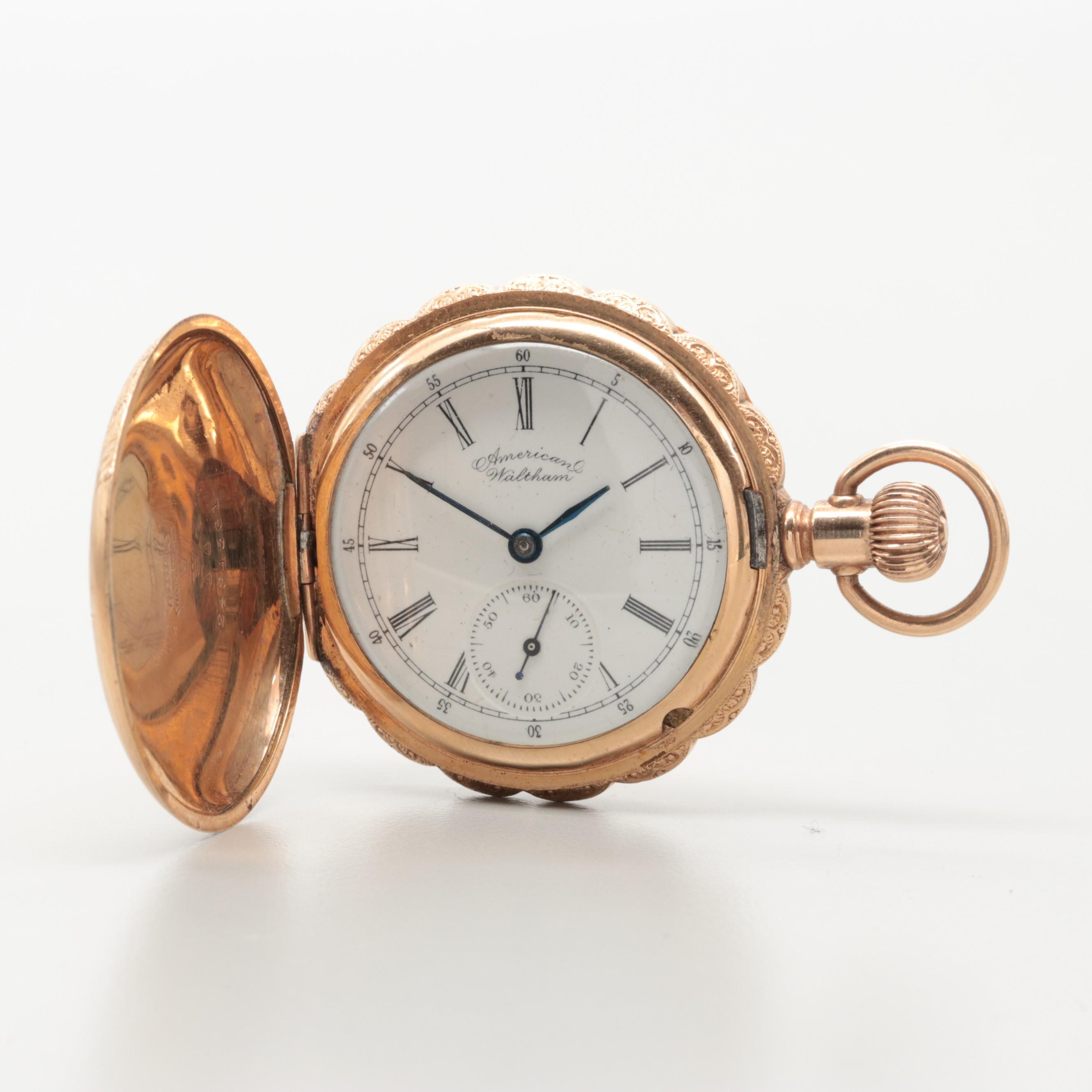 1893 American Waltham Gold Filled Hunting Case Pocket Watch With Scalloped Edges