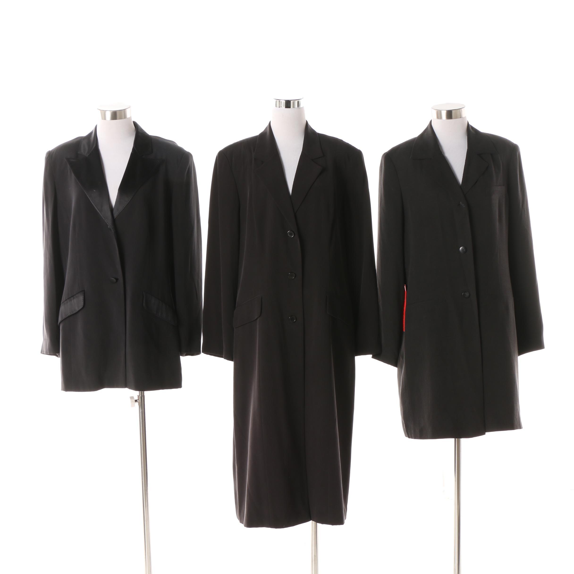 Circa 1990s Diane von Furstenberg Silk Assets Black Silk Jackets and Coat