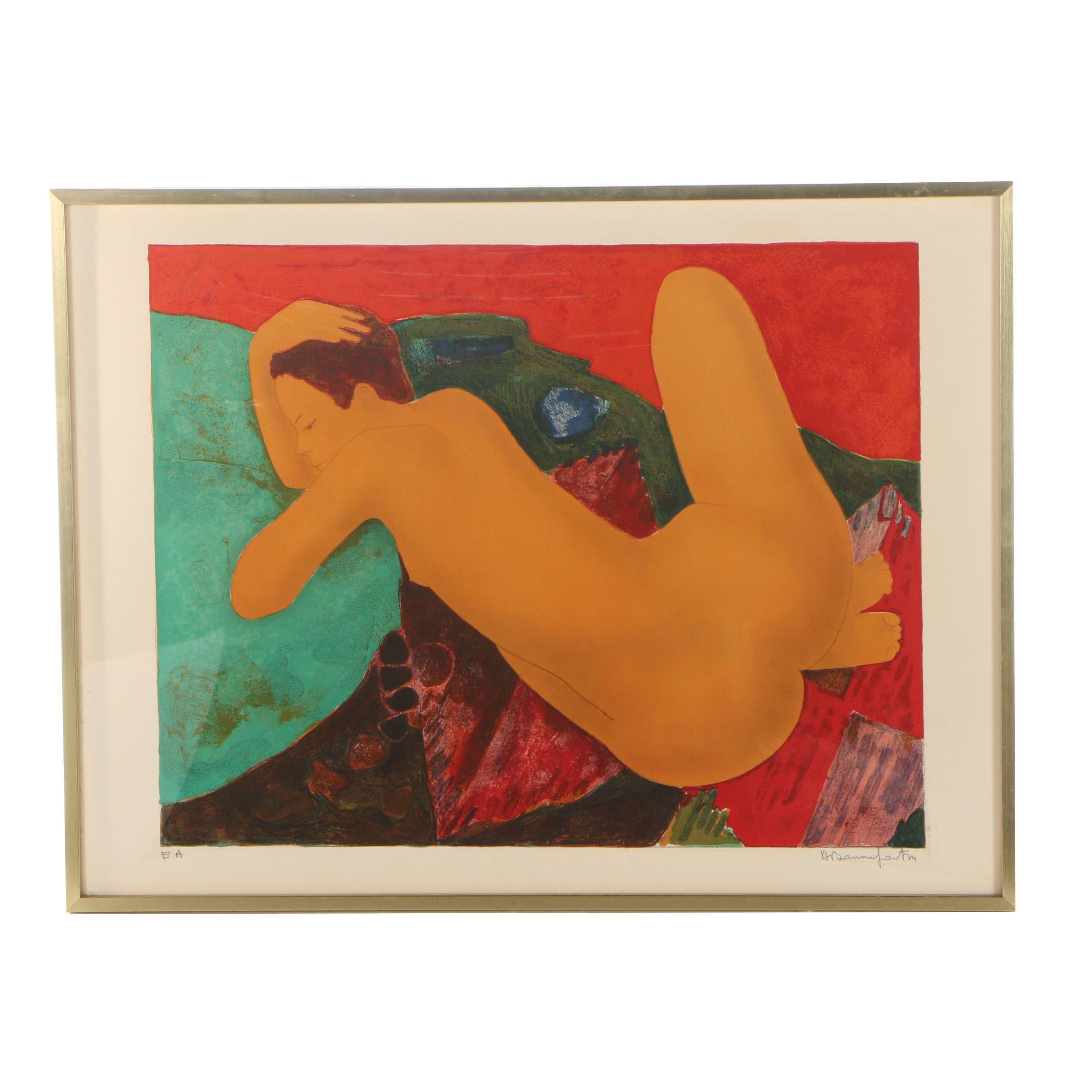 Alain Bonnefoit Color Lithograph Portrait