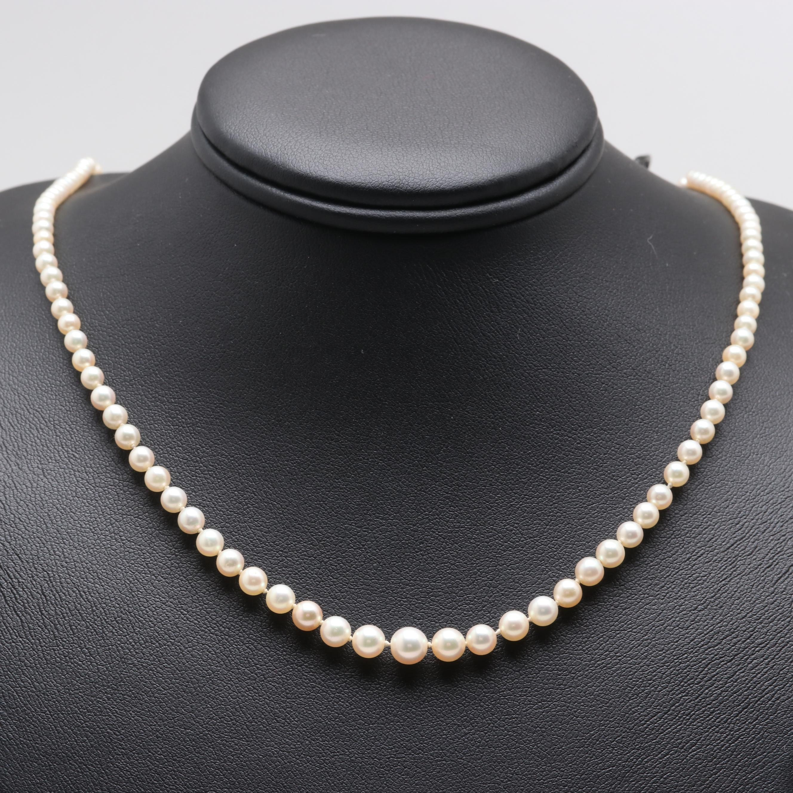 14K White Gold Graduating Cultured Pearl Necklace