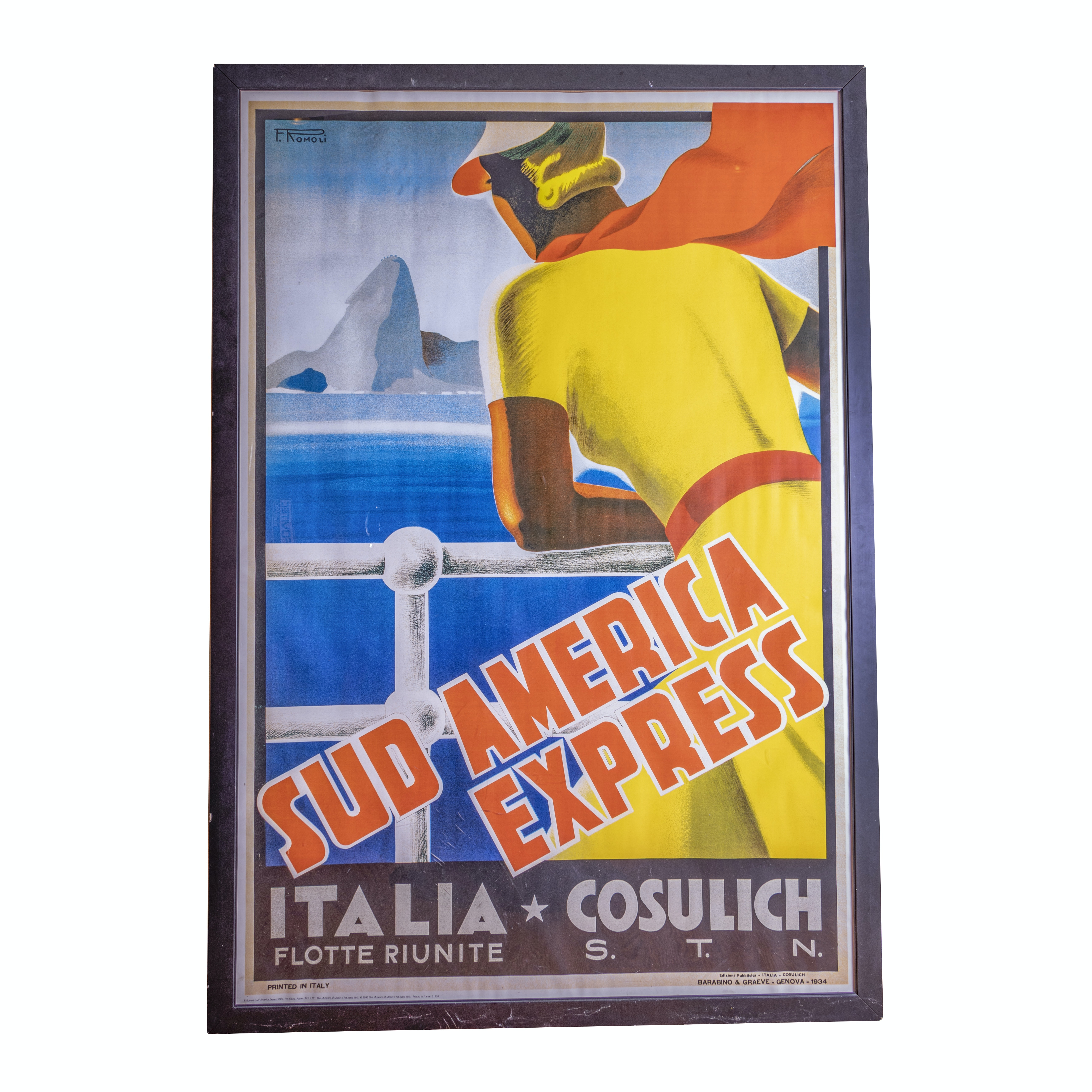 """Framed Reproduction """"Sud America Express"""" Travel Poster"""