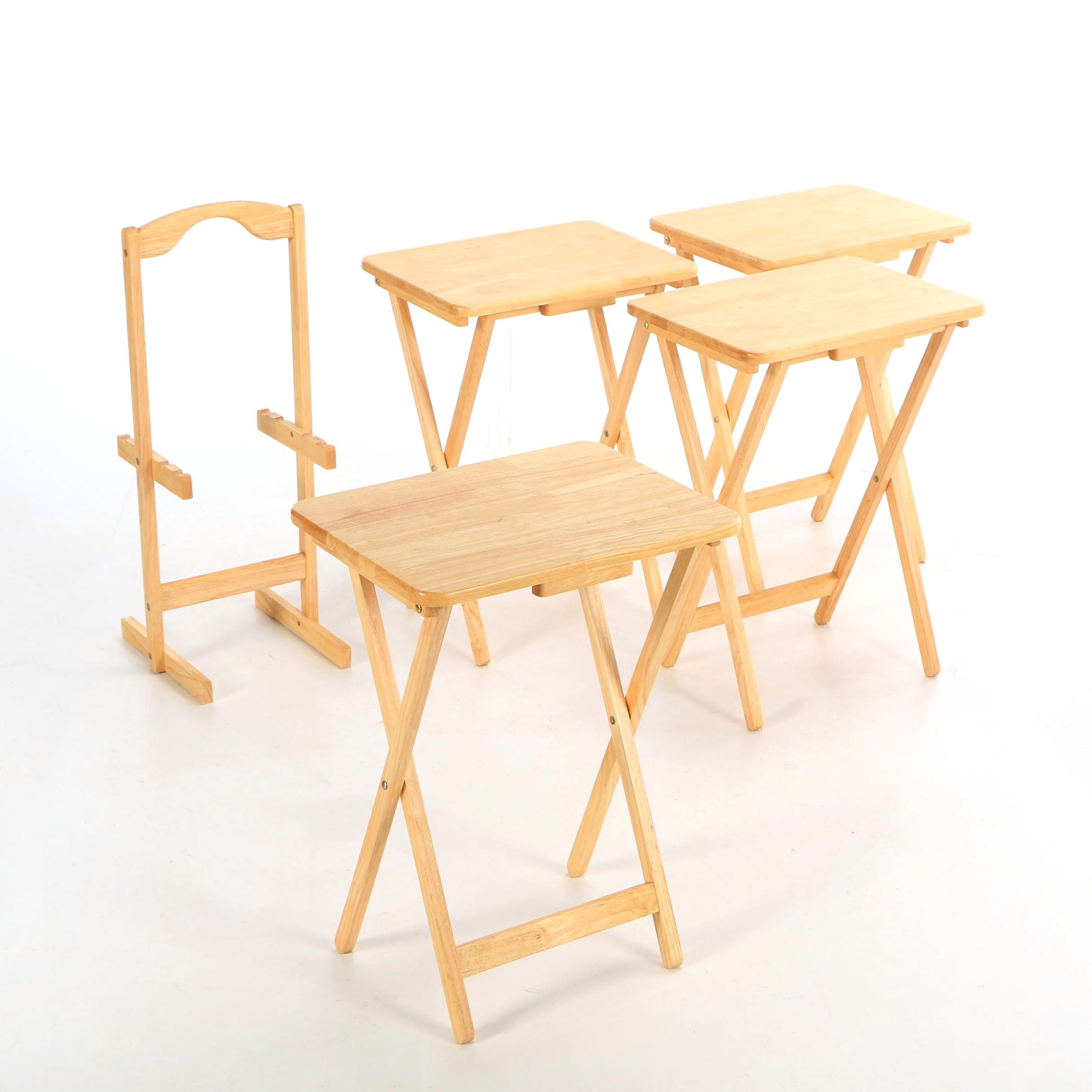 Four Contemporary Blond Wood Folding Tables with Stand