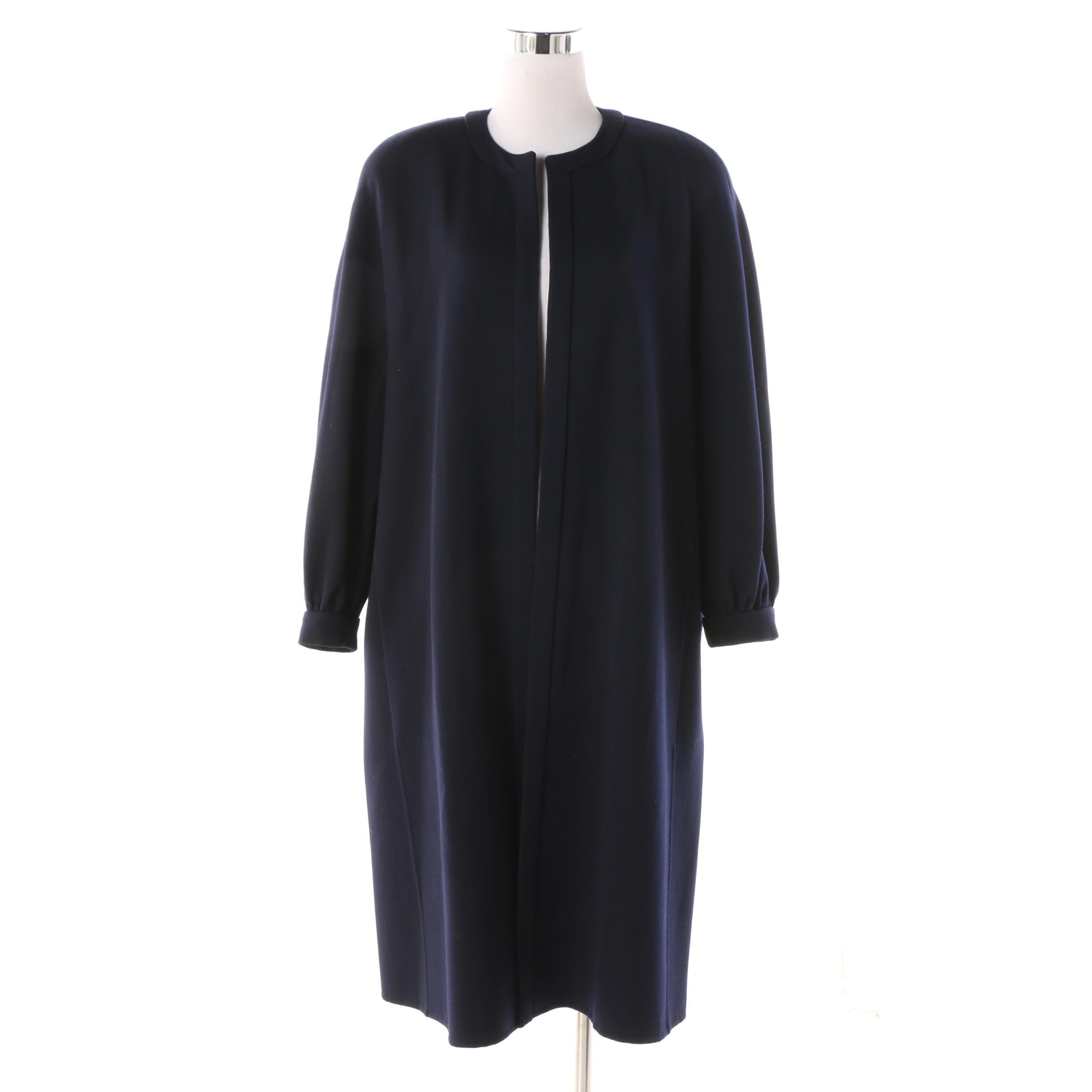 Women's André Laug Italian Made Navy Wool Open Front Coat