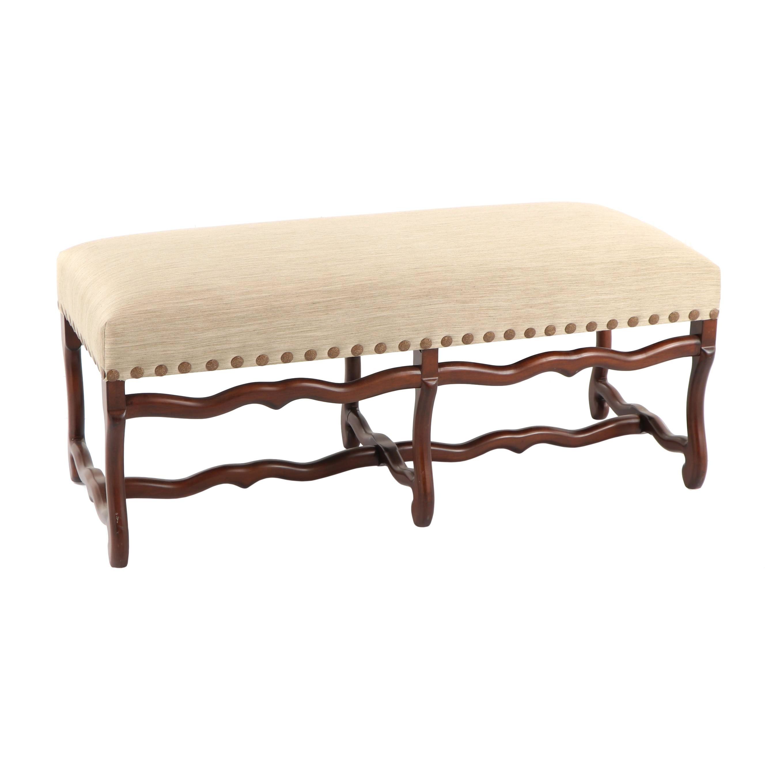 Louis XIII Style Custom Upholstered Bench