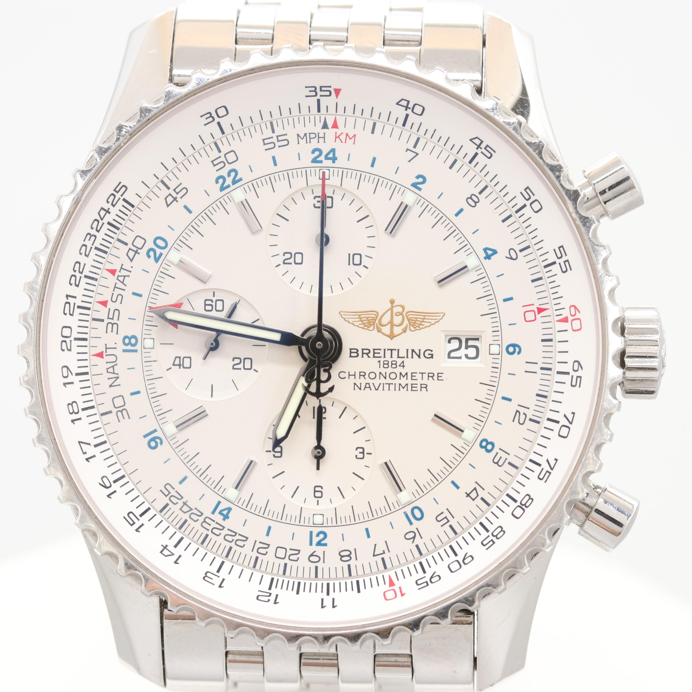 Breitling Navitimer World GMT Stainless Steel A24322 Automatic Wristwatch