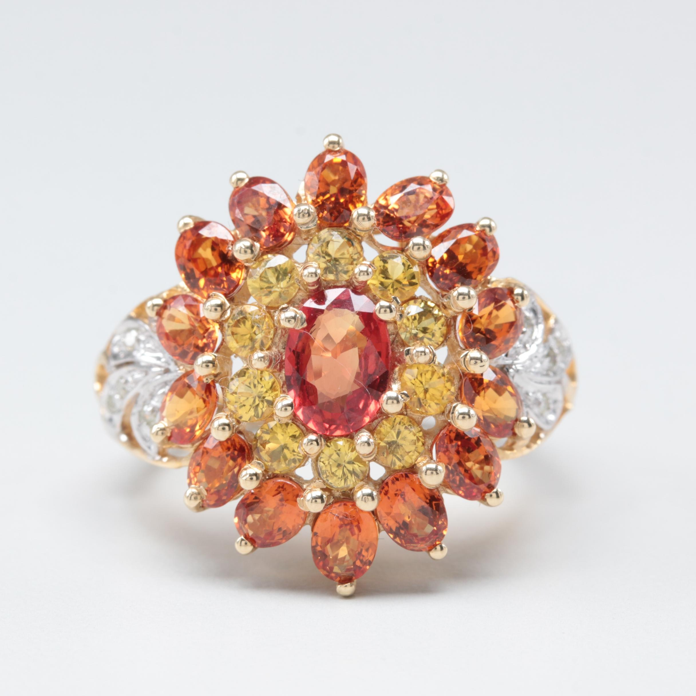 14K Yellow Gold Orange and Yellow Sapphire and Diamond Ring