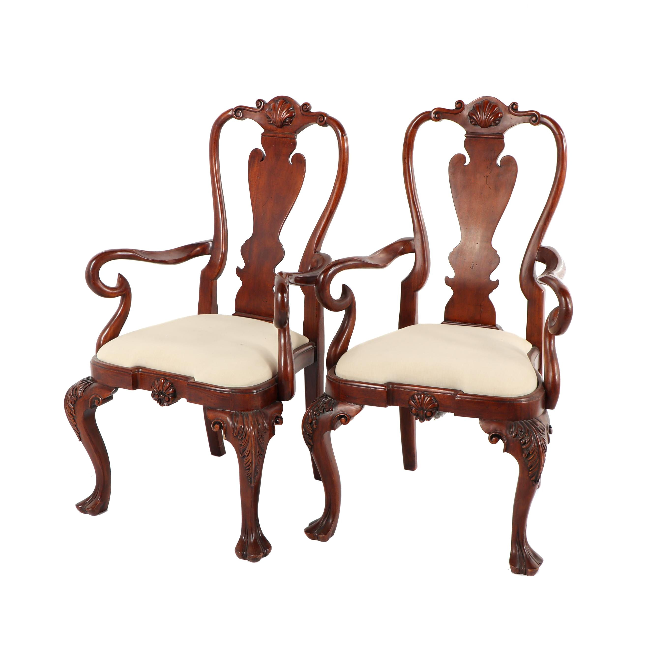 Queen Anne Style Armchairs, Late 20th Century