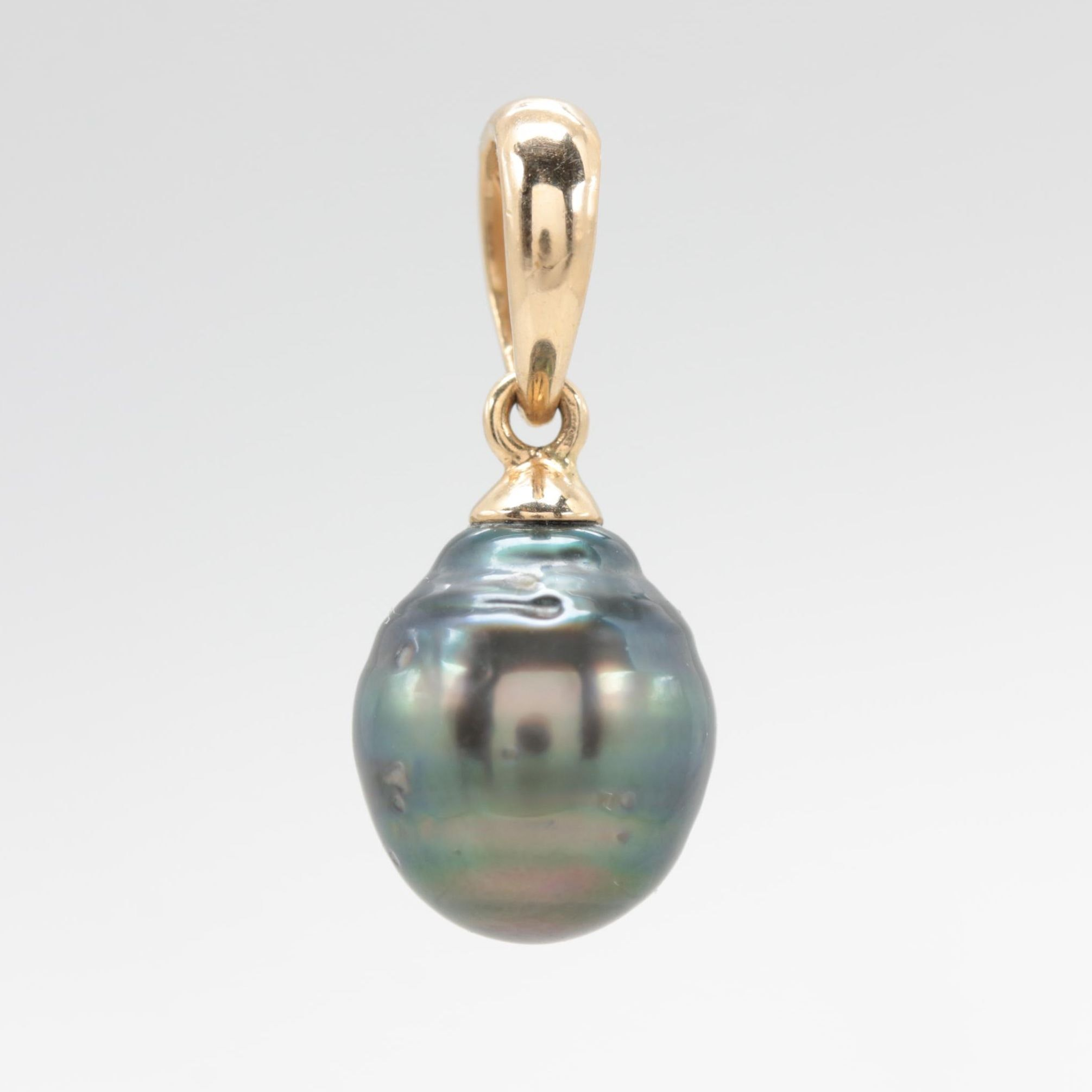 14K Yellow Gold Cultured Pearl Dangle Pendant