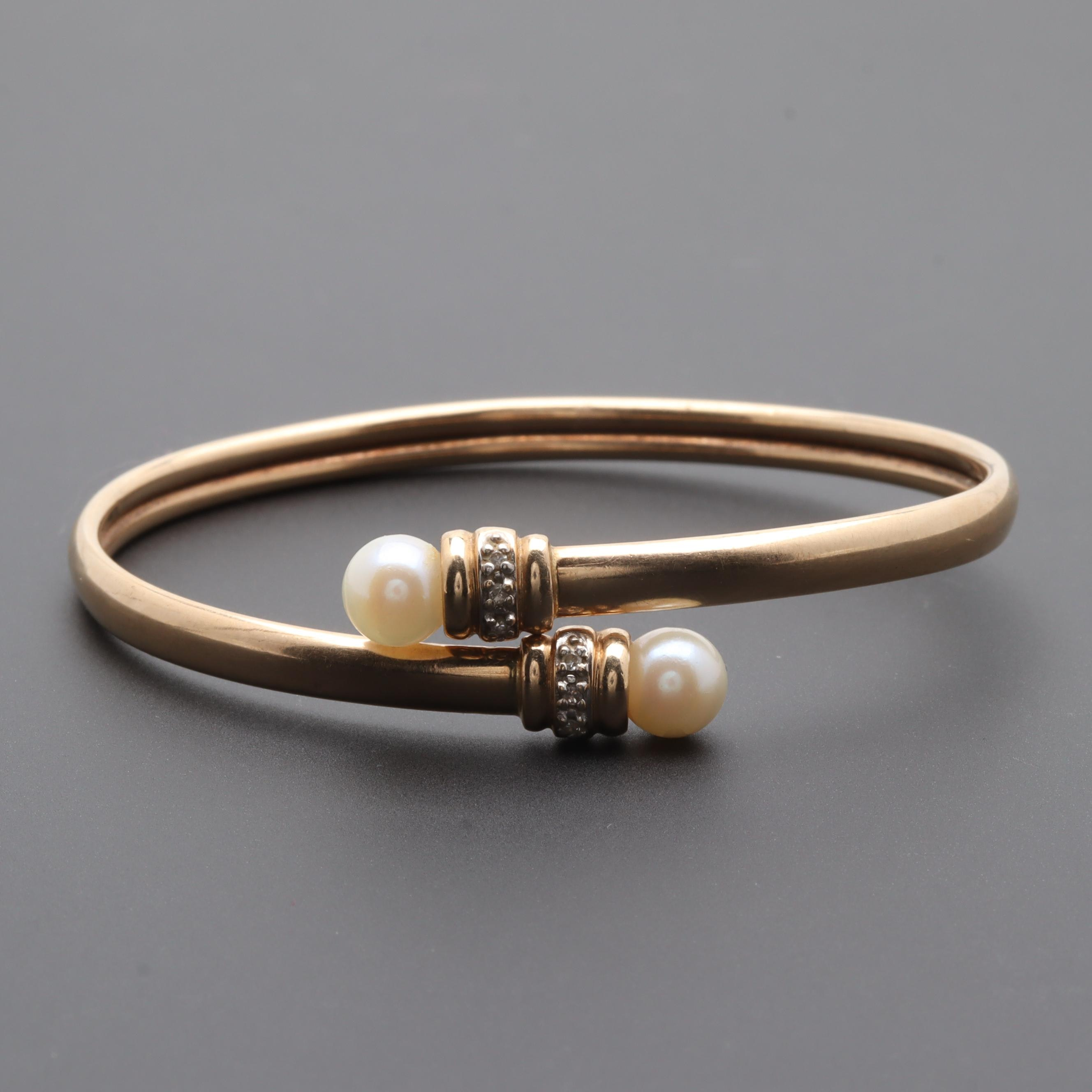 10K Yellow Gold Cultured Pearl and Diamond Flexible Bangle Bracelet